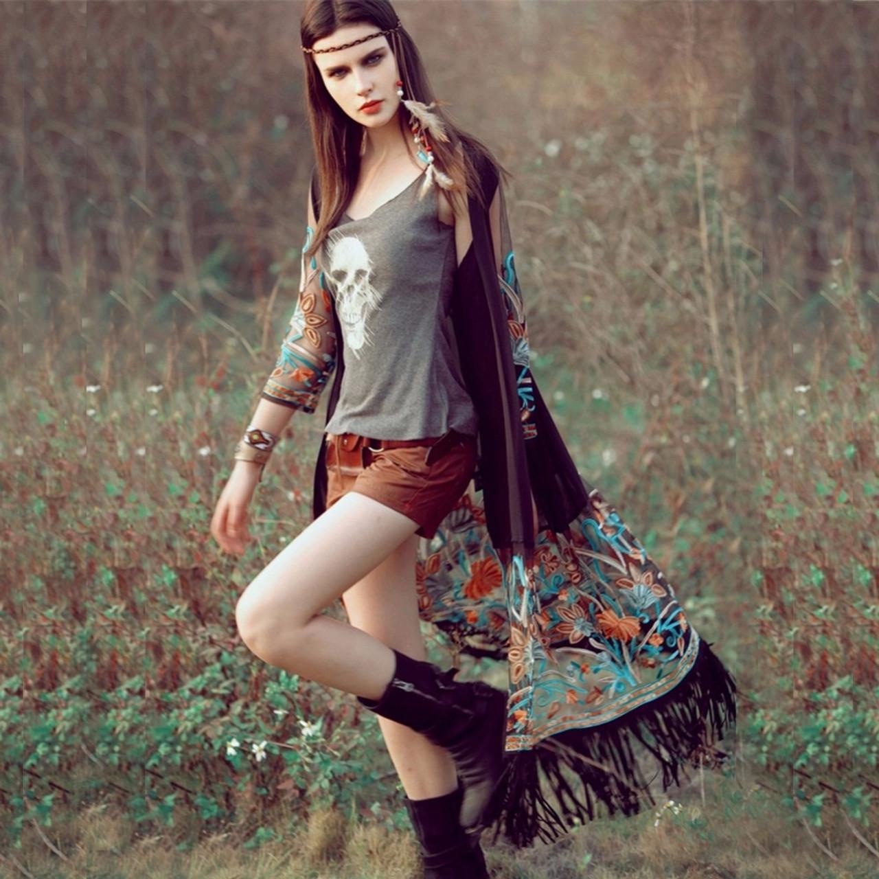 248f1ba5661 ... Bamskarosa Bohemian Style 2018 Summer Kimono Cardigan Casual Fashion  Boho Hippie Embroidery Tassel Ladies Shirts Women ...