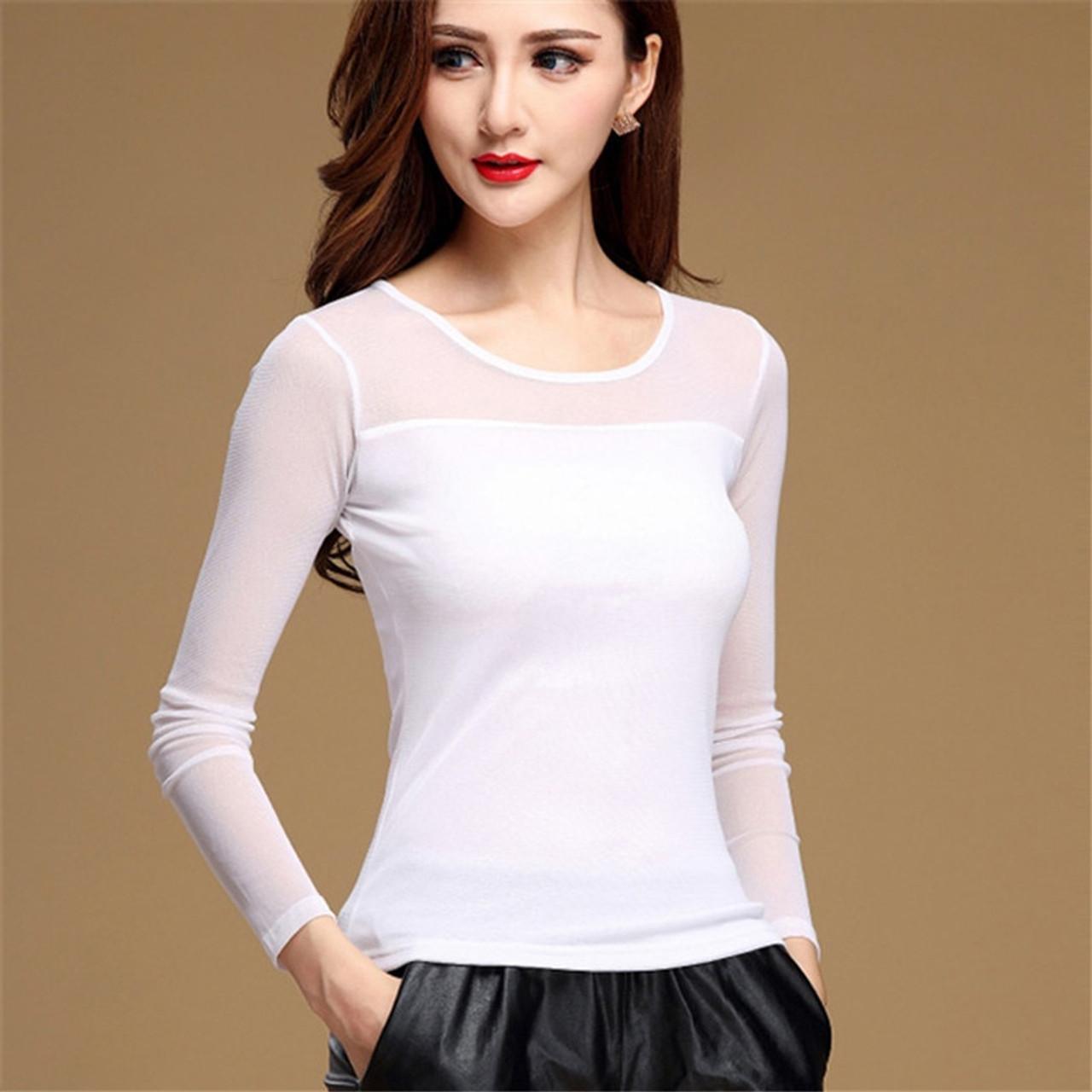 ... New Women Blouse Shirt Black White Sexy Long Shirt Casual Long Sleeve  Lace Blouse Under Shirts ... f49e3d658f0c