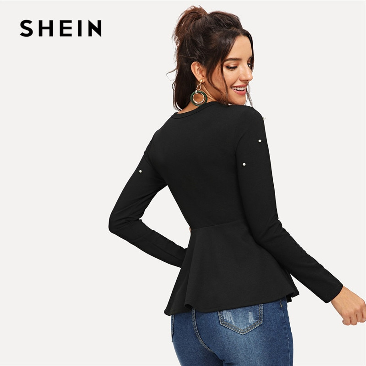78f99a89b4 ... SHEIN Black Pearls Beaded Solid Peplum Top Elegant Round Neck Long  Sleeve Flared Blouses Women Autumn ...