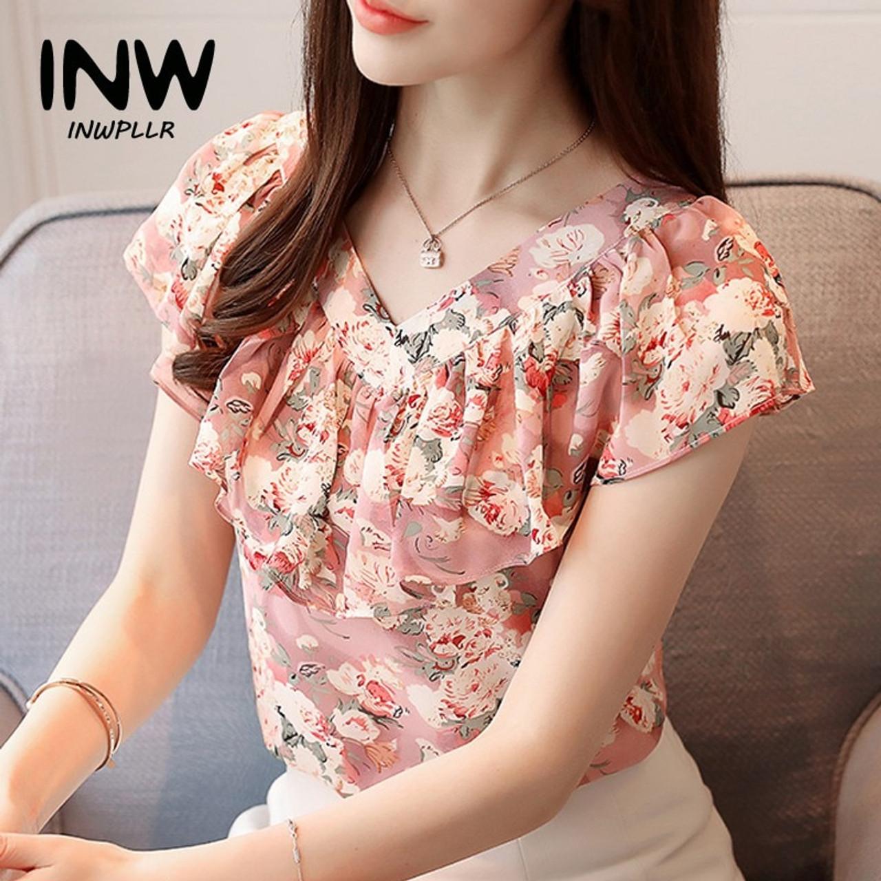 53d244128d0 2018 Fashion Summer Blouses Women Shirts Plus Size Floral Tops Ladies Short  Sleeve Chiffon Blusas Feminina ...
