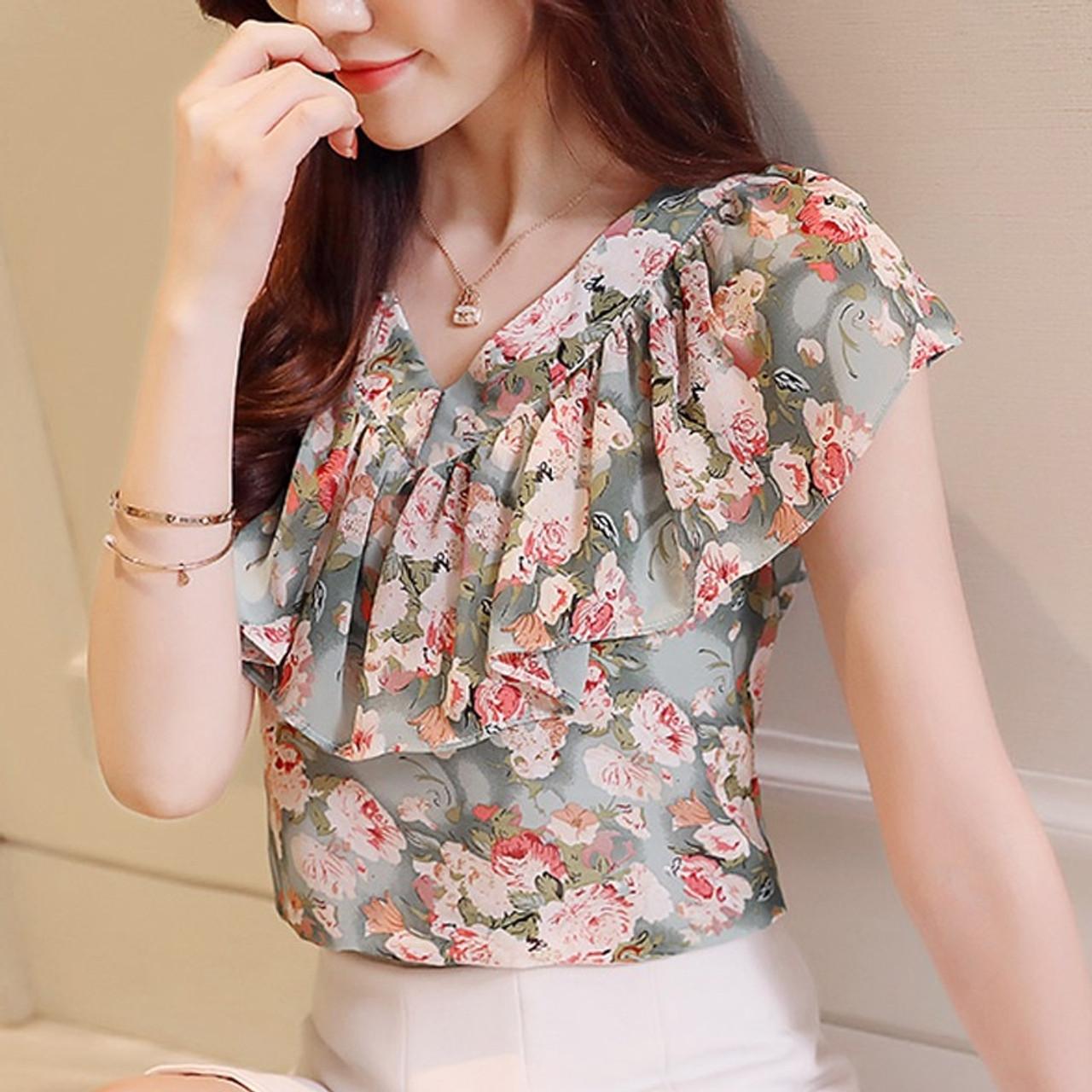 92a3c38f3e01 ... 2018 Fashion Summer Blouses Women Shirts Plus Size Floral Tops Ladies  Short Sleeve Chiffon Blusas Feminina ...