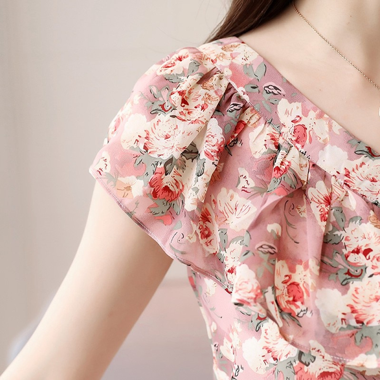 18f00ff9d476 ... 2018 Fashion Summer Blouses Women Shirts Plus Size Floral Tops Ladies  Short Sleeve Chiffon Blusas Feminina ...
