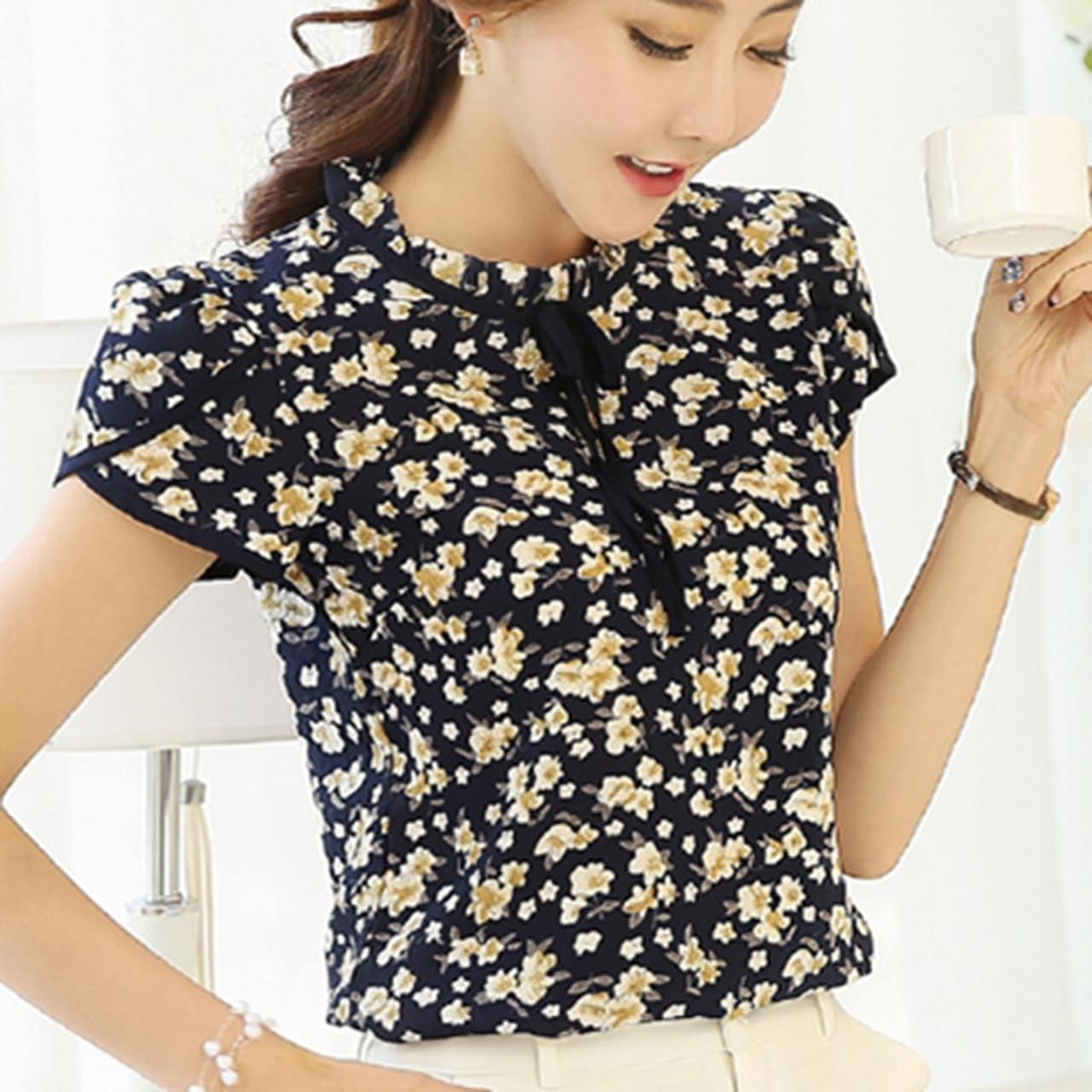 ec160b105e 2017 Summer Floral Print Chiffon Blouse Ruffled Collar Bow Neck Shirt Petal  Short Sleeve Chiffon Tops ...