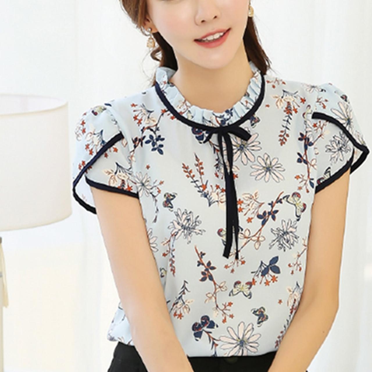 d94ccaae98 ... 2017 Summer Floral Print Chiffon Blouse Ruffled Collar Bow Neck Shirt  Petal Short Sleeve Chiffon Tops ...