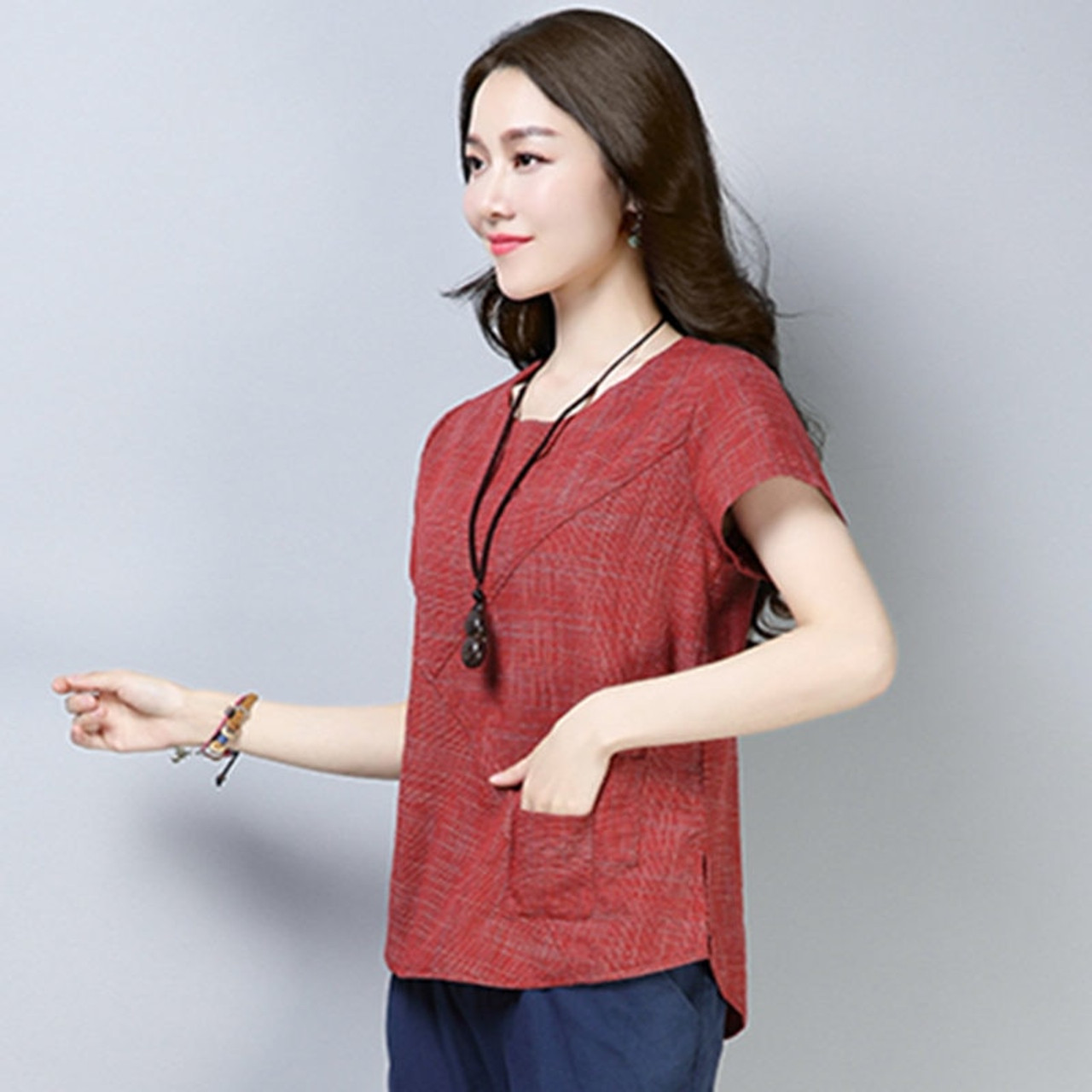 18b078623bc9 ... Women's Summer Blouses 2018 New Vintage Linen Cotton Ladies Tops Casual  Loose Short Sleeve Shirt Female ...