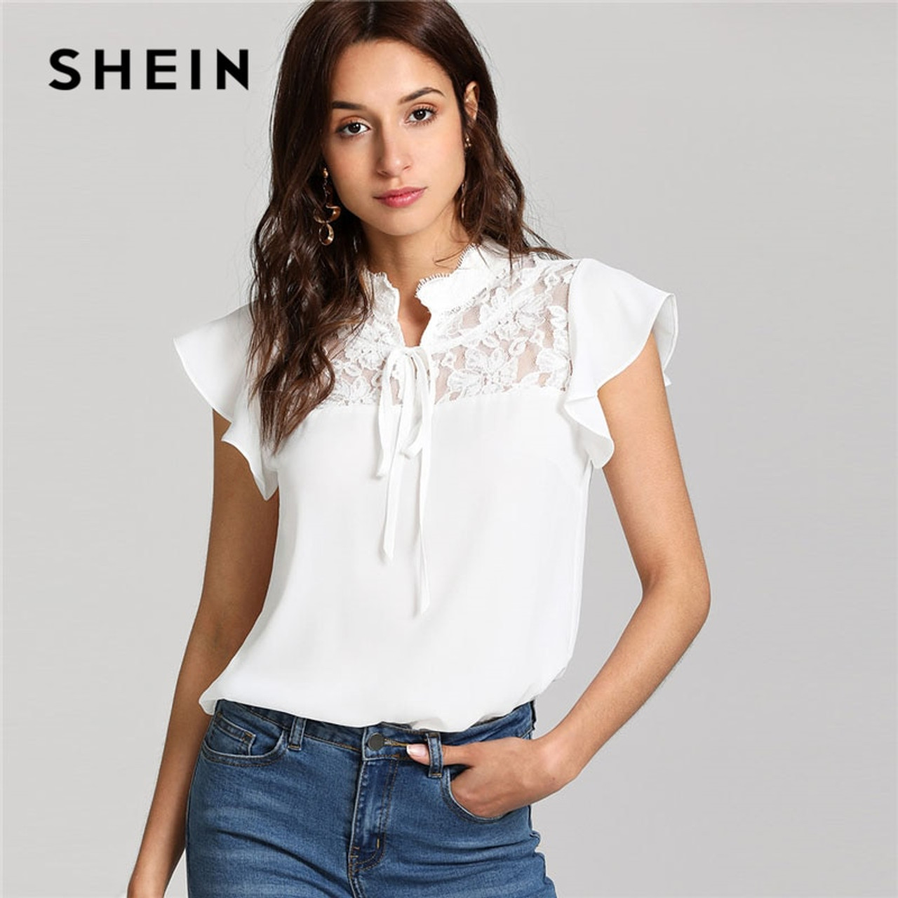 9e6dca0a87 SHEIN White Knot Floral Lace Yoke Top Women Stand Collar Ruffle Butterfly Sleeve  Plain Blouse 2018 ...