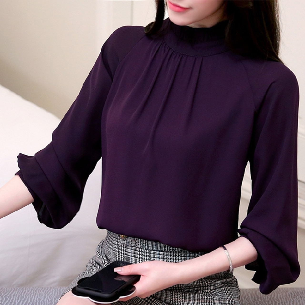 4701363460579 ... New Autumn 2018 womens tops and blouses Long Sleeve Chiffon Blouse  Mujer Fashion Ladies Shirts Tops ...