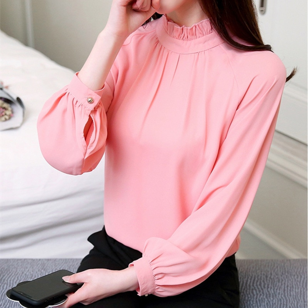 c89d8def6dc ... New Autumn 2018 womens tops and blouses Long Sleeve Chiffon Blouse  Mujer Fashion Ladies Shirts Tops ...