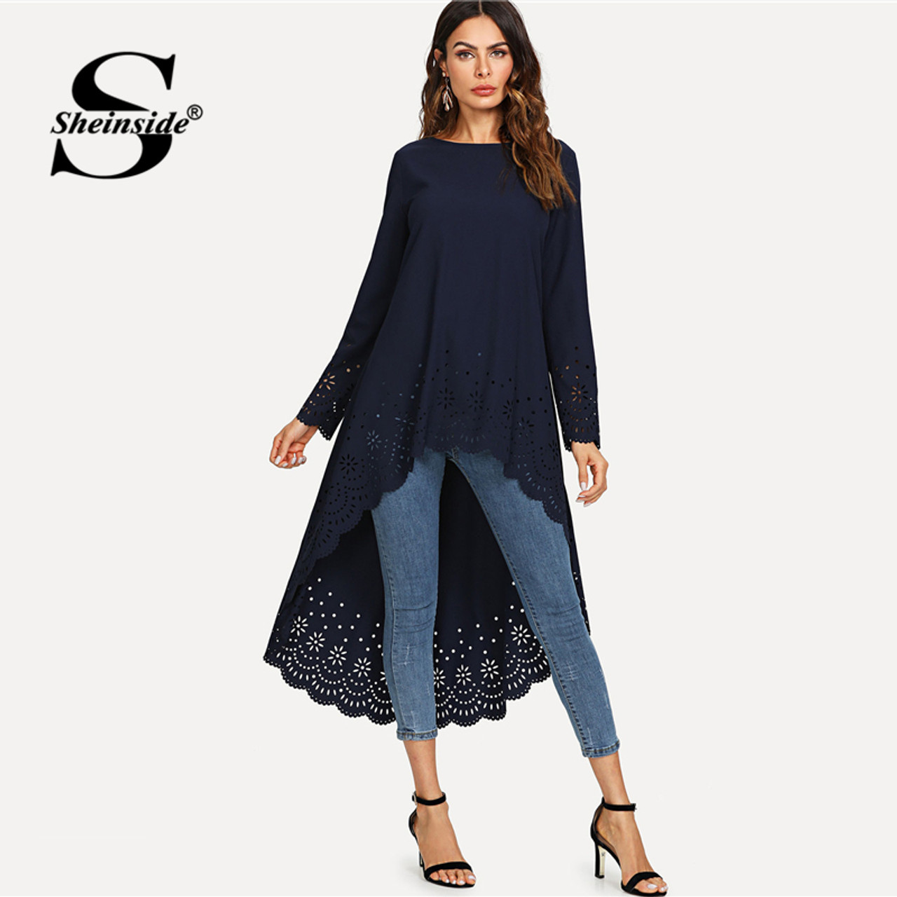 bf2c26e523 Sheinside Hollow Out High Low Casual Top Women Navy Asymmetrical Plain Long  Sleeve Loose Office Ladies Elegant Autumn Blouse - OnshopDeals.Com