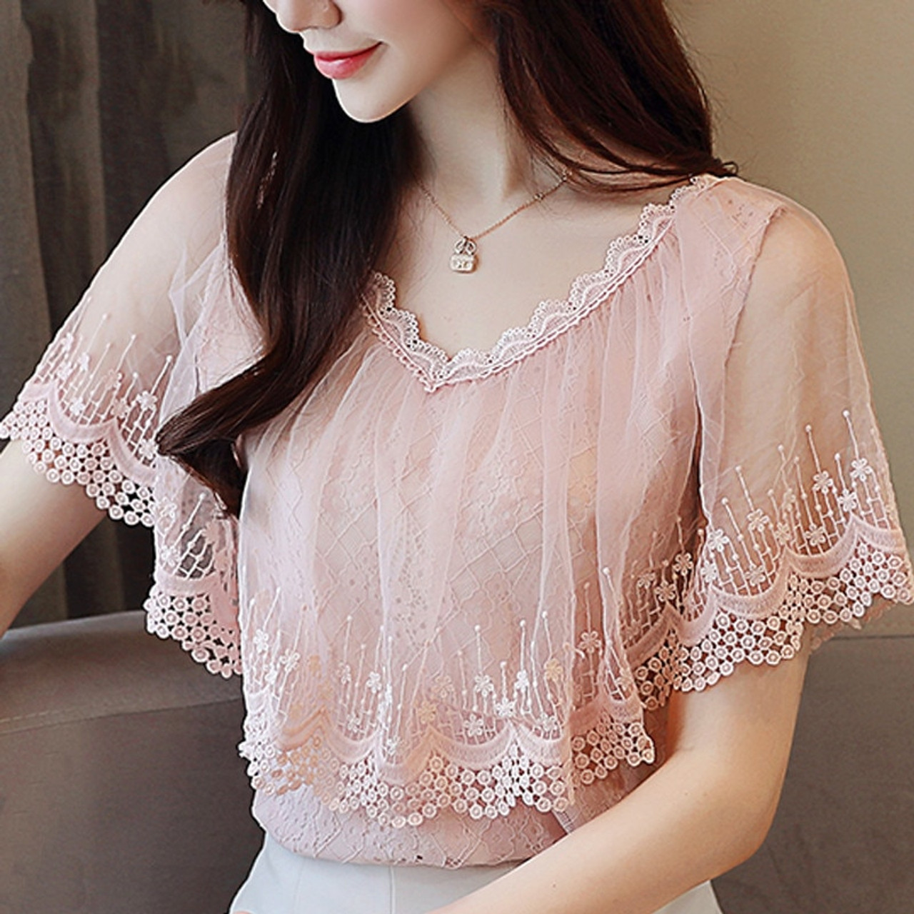 d691f0fe516aad ... Women Tops and Blouses Summer Lace Blouse Shirt Fashion Women Blouses  New 2018 Short Sleeve Lace ...