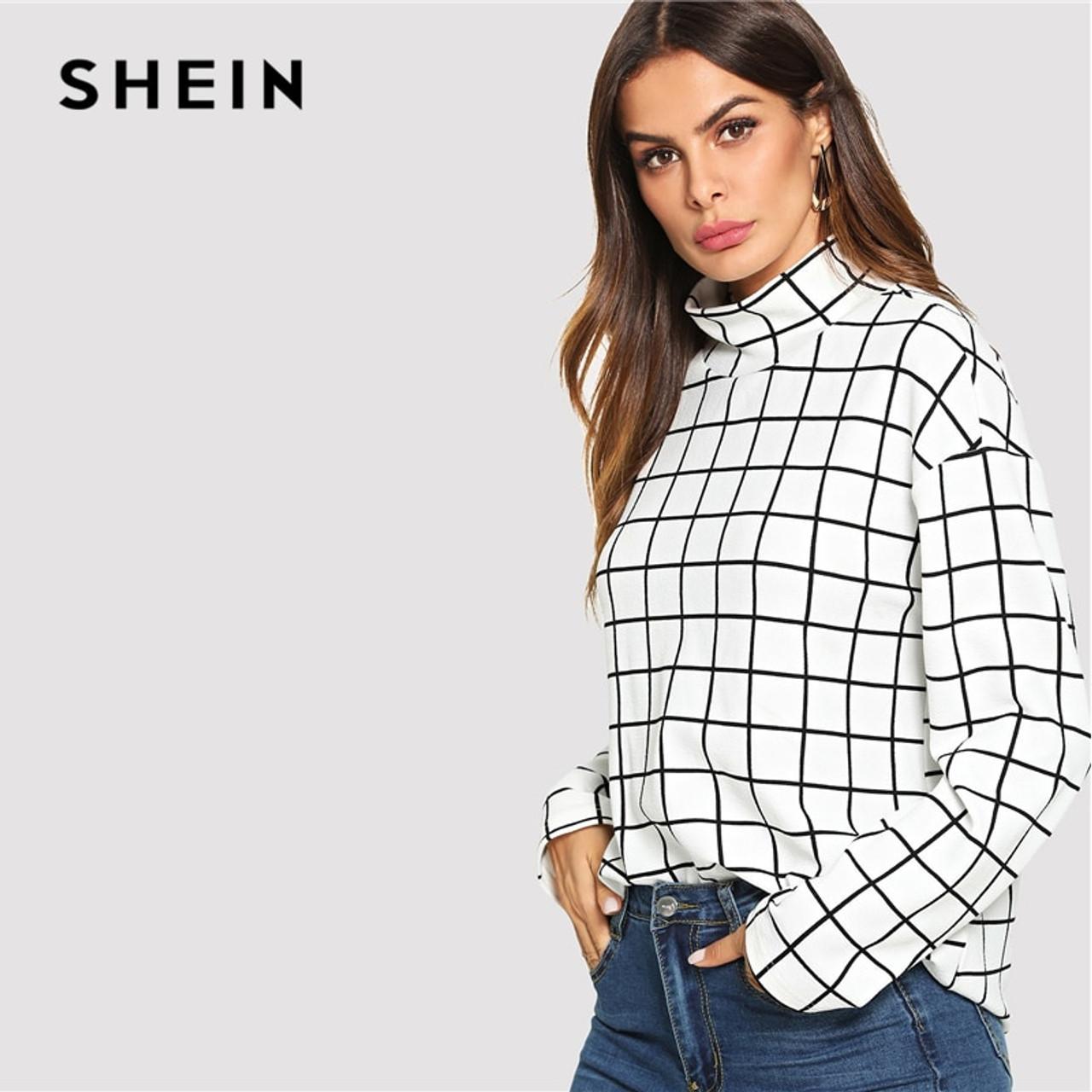 f4836c4cca6 ... SHEIN Black and White High Neck Plaid Grid Print Blouse Elegant Long  Sleeve Highstreet Blouses Women ...