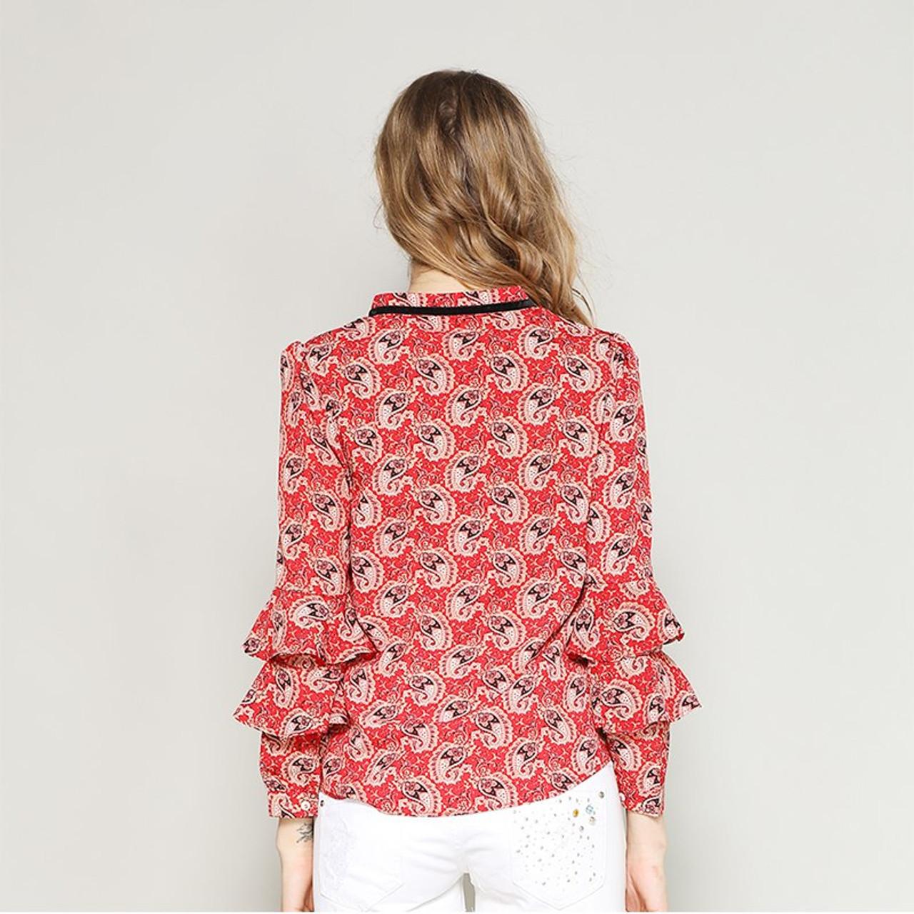cdf2b7c55 ... nvyou gou Spring Summer Elegant Long Sleeve Ruffle Layer Chiffon Blouse  Women Vintage Floral Print Fashion ...