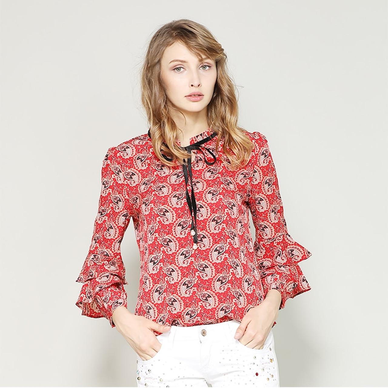 b48446b9cb444 nvyou gou Spring Summer Elegant Long Sleeve Ruffle Layer Chiffon Blouse  Women Vintage Floral Print Fashion Bow Tie Casual Shirt