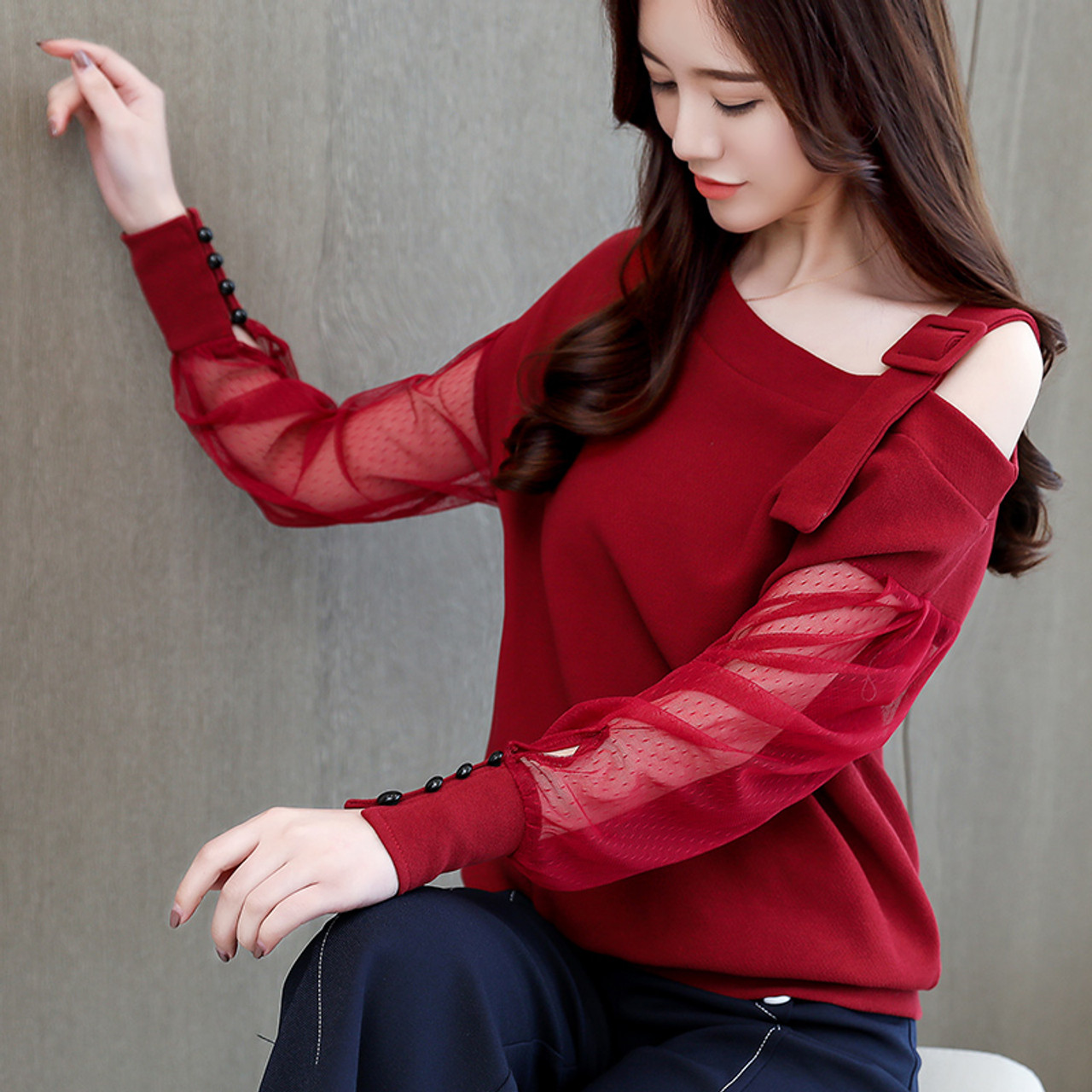 613e44a8553e9 ... Autumn long sleeve shirt women fashion woman blouses 2018 sexy off  shoulder top solid women blouse ...