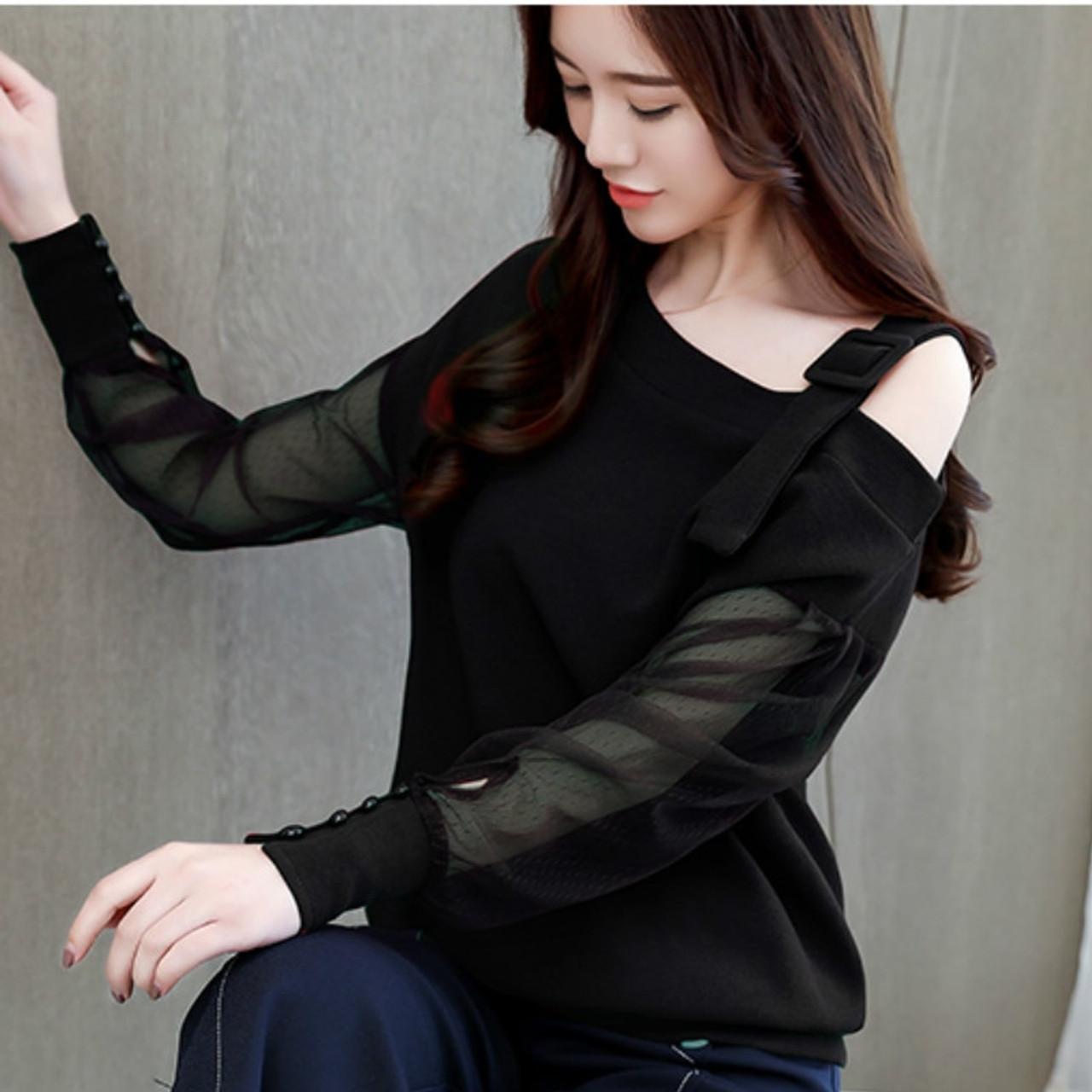 015012167e809 ... Autumn long sleeve shirt women fashion woman blouses 2018 sexy off  shoulder top solid women blouse ...