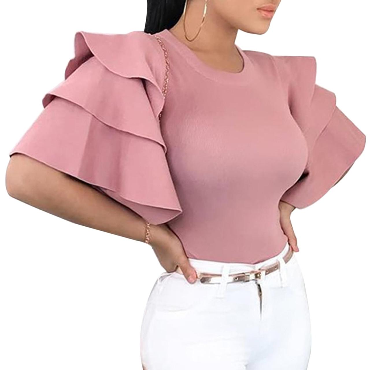 2c3ced1af8c2d 2018 Women Ruffle Sleeve Blouse Tops Elegant Round Neck Slim Office Shirt  Ladies Korean Fashion Pink ...