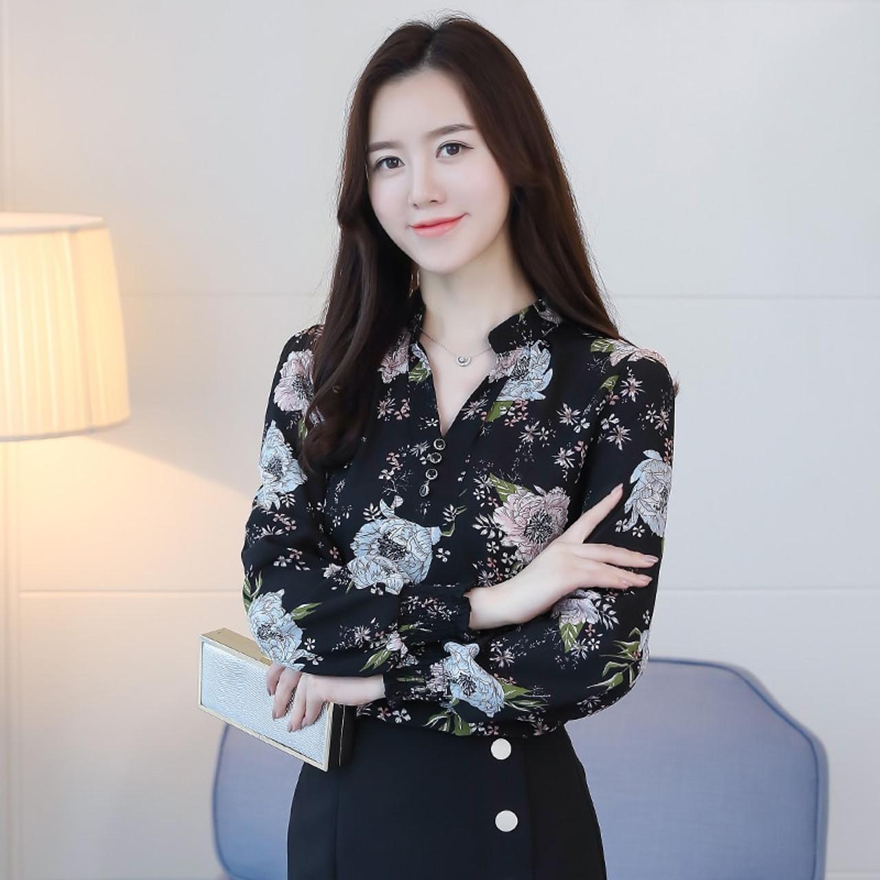 7f33fa70 ... 2018 new spring long sleeved blouses fashion slim casual print plus  size elegant OL style women ...