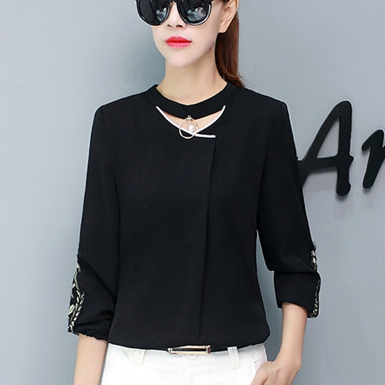 5840504c82 ... Autumn Womens Tops And Blouses Long Sleeve Chiffon Blouse Ladies Tops  New Lace Patchwork Women Shirts ...