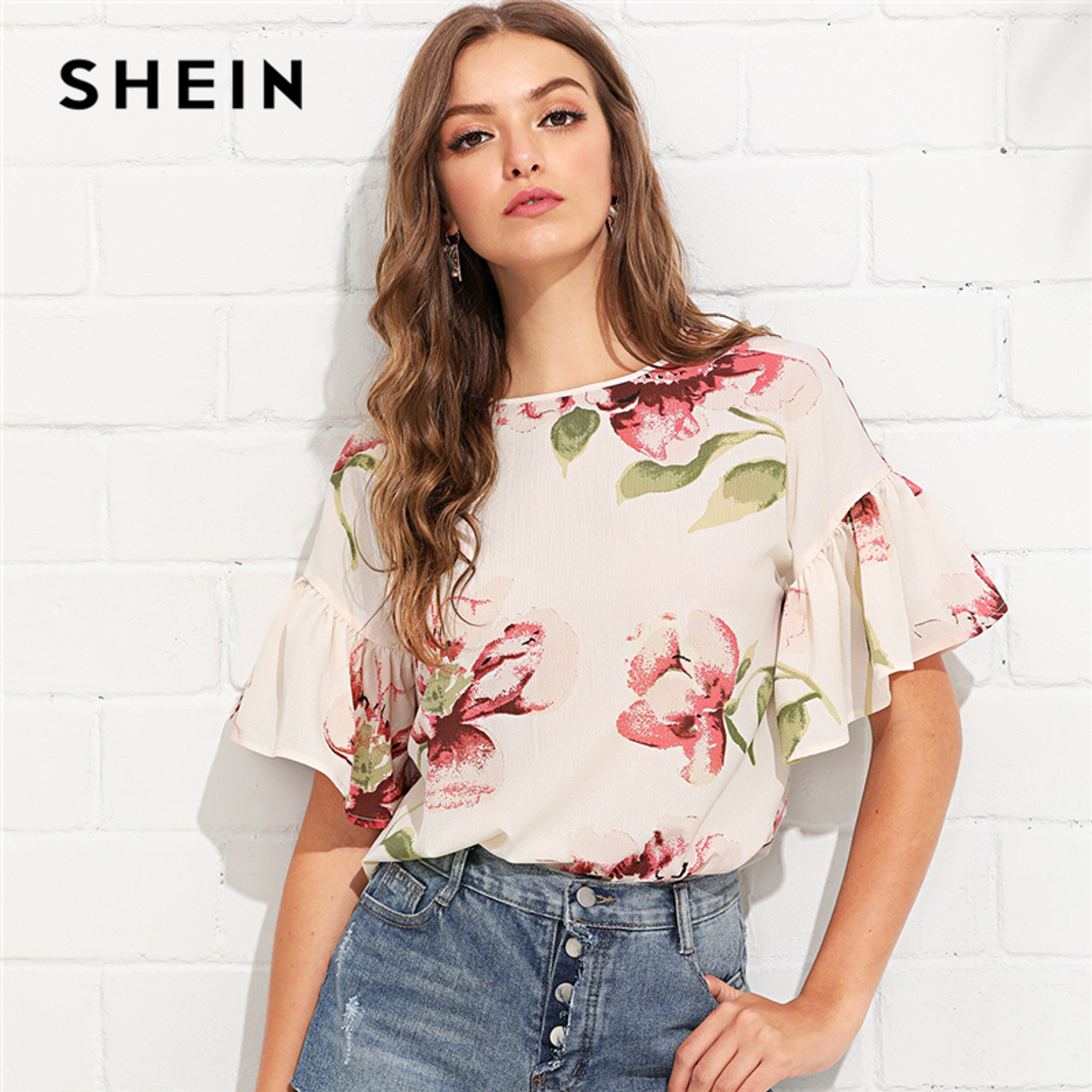 6bf903d35bec4 SHEIN Multicolor Vacation Bohemian Beach Floral Print Flounce Ruffle Sleeve  Keyhole Back Floral Blouse Women Casual ...
