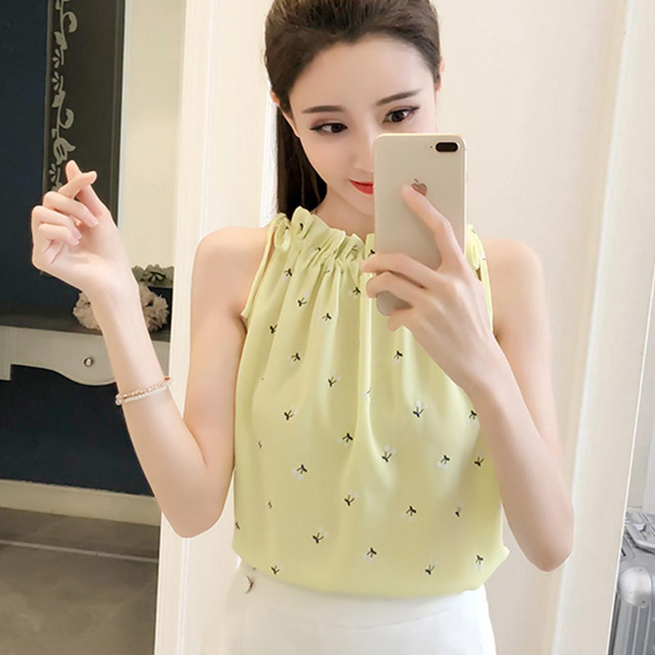 Women Blouses 2018 Fashion Elegant Print Chiffon Blouse Sleeveless Shirts  Casual summer Top Ladies Clothing Blusa Feminina