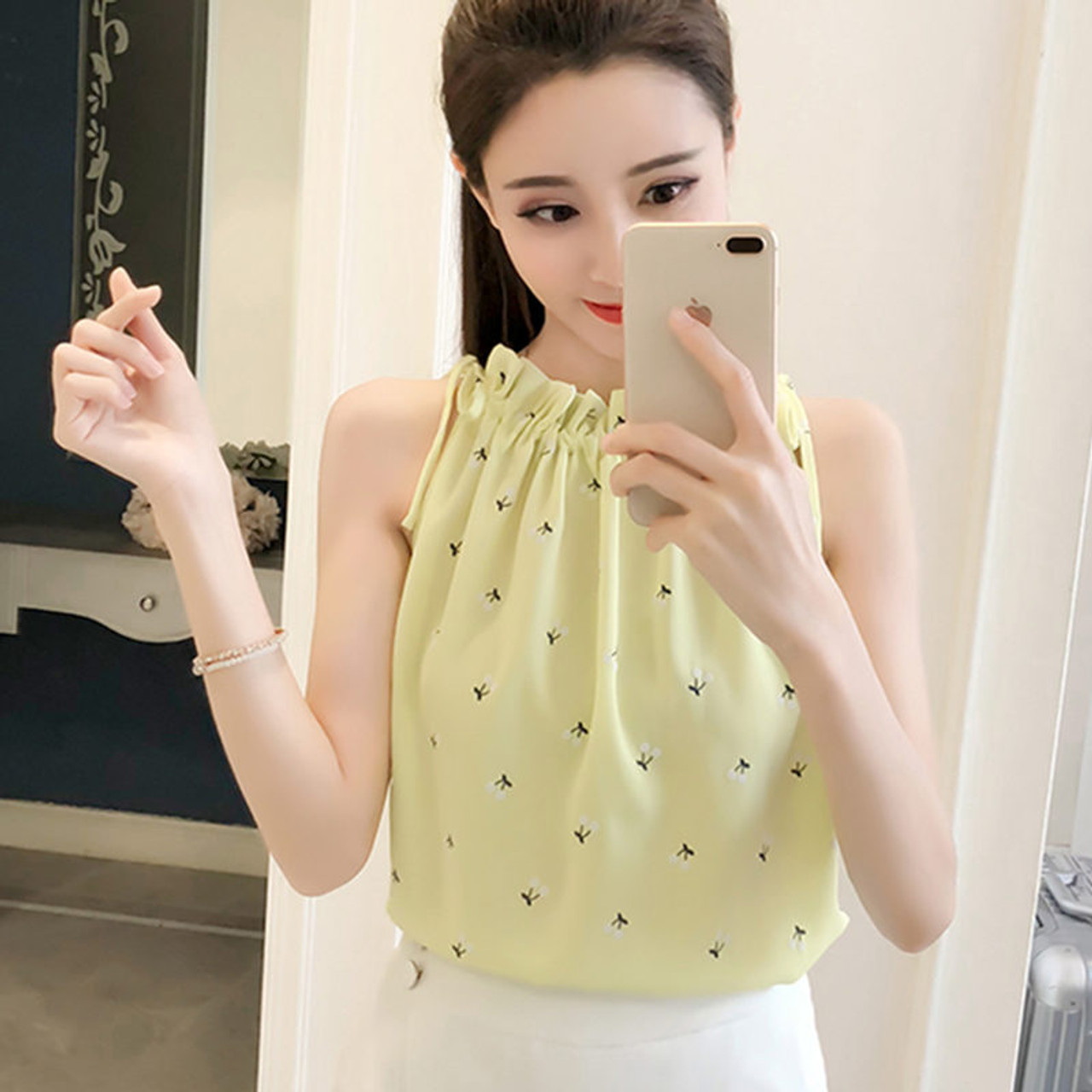 57de8e4cd0a1 ... Women Blouses 2018 Fashion Elegant Print Chiffon Blouse Sleeveless  Shirts Casual summer Top Ladies Clothing Blusa ...