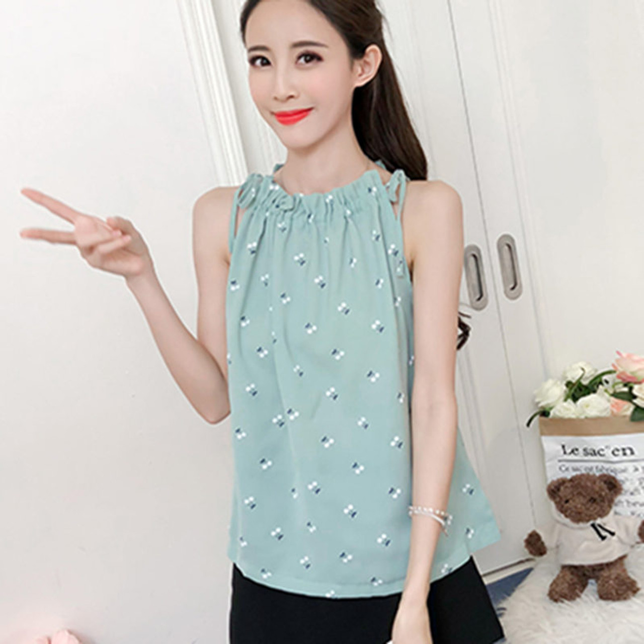 5da30a0bd2c41 ... Women Blouses 2018 Fashion Elegant Print Chiffon Blouse Sleeveless Shirts  Casual summer Top Ladies Clothing Blusa ...