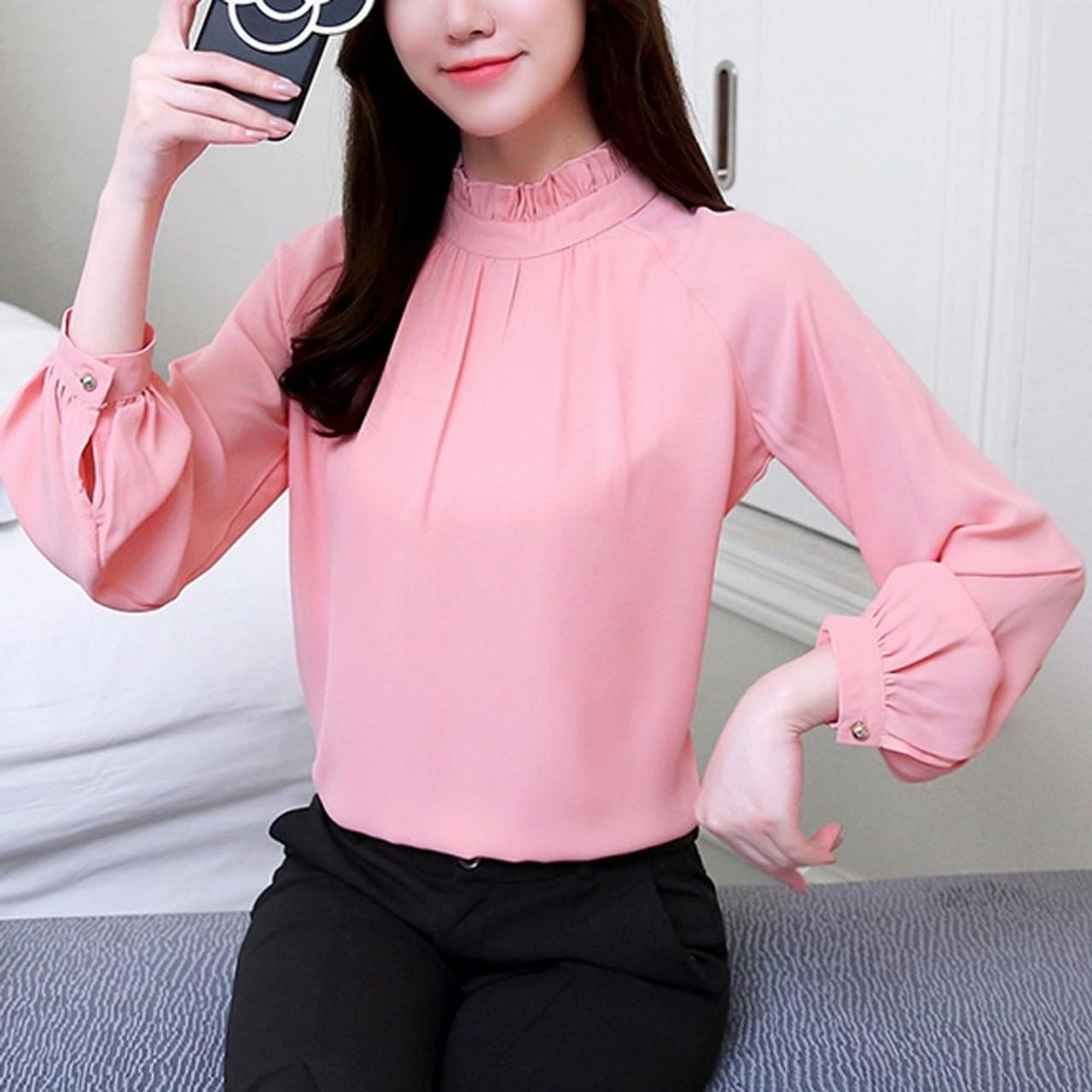 4295faba0 ... 2018 Spring Blusas Feminina Elegant Chiffon Blouses Women Casual Lantern  Sleeve Female Shirt Fashion Pink Purple ...
