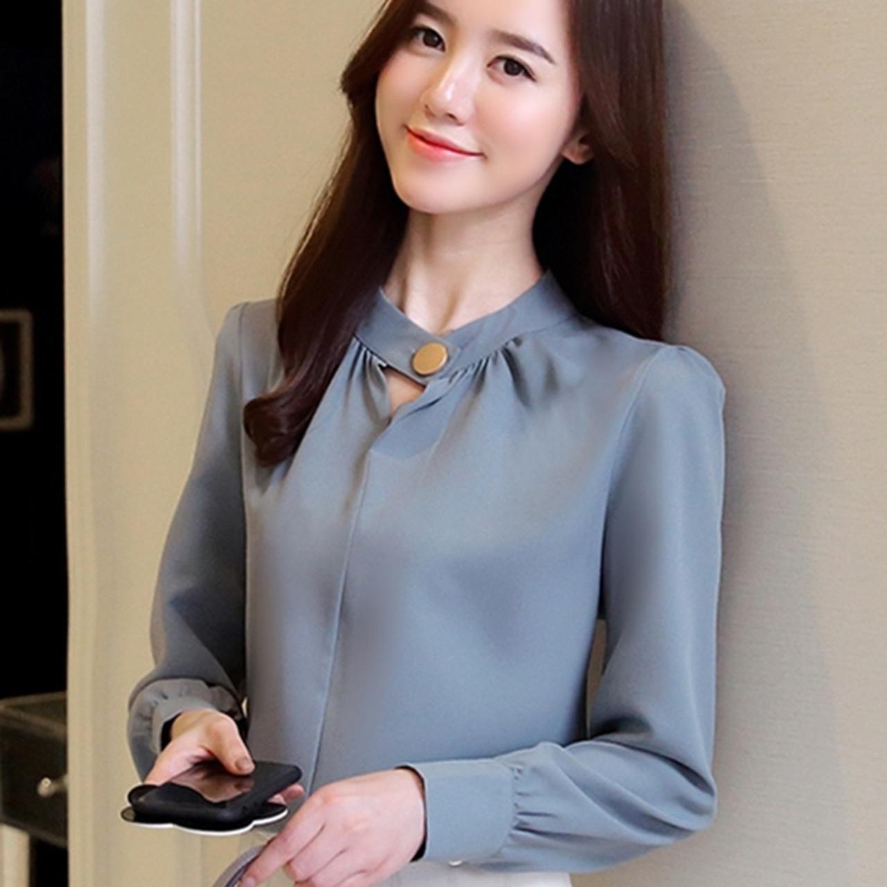 cb58fc0ea10 ... New Autumn 2018 Womens Tops and Blouses Long Sleeve Chiffon Blouse  Ladies Tops Women Shirts Shirt ...