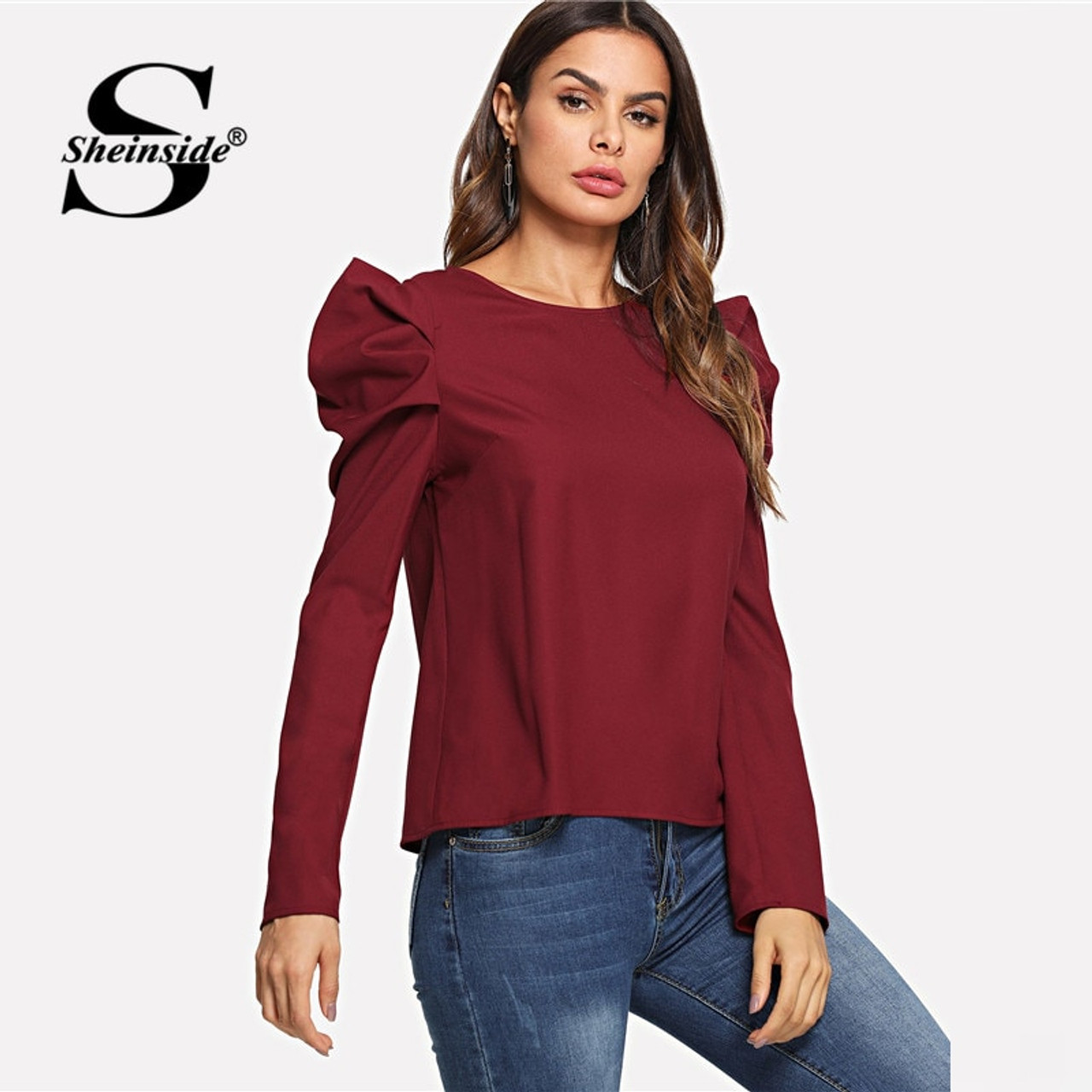 8540e44035 ... Sheinside Burgundy Ladies Work Top Solid Women Long Sleeve Round Neck  Elegant Blouse Autumn Casual Womens ...