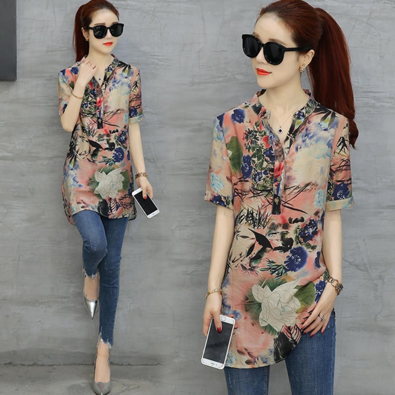 a3514e42666b1 4XL Plus Size Long Blouse Women Vintage Flower Printed Blouses 2018 Elegant  Lady Short Sleeve Shirt ...