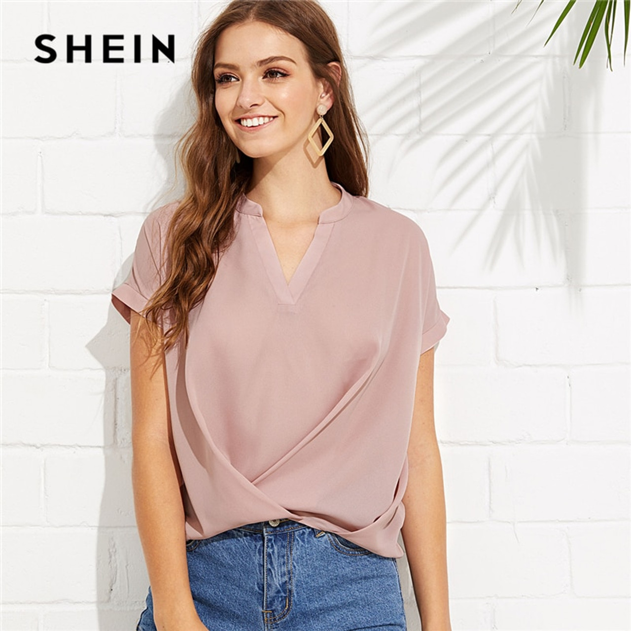 2b19412558 SHEIN Pink Elegant Workwear Draped V Neck Stand Collar Short Sleeve Solid  Blouse Summer Women Weekend ...