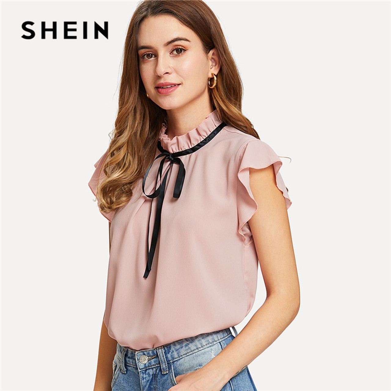 471319c0c240b9 SHEIN Bow Tied Frilled Neck Button Back Blouse 2018 Summer Stand Collar Cap  Sleeve Ruffle Youthful ...