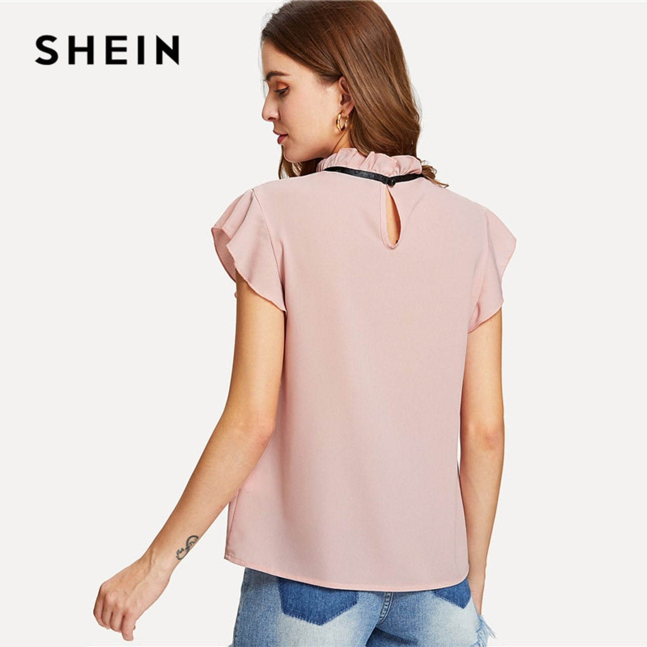 4a058ac6571aaf ... SHEIN Bow Tied Frilled Neck Button Back Blouse 2018 Summer Stand Collar  Cap Sleeve Ruffle Youthful ...
