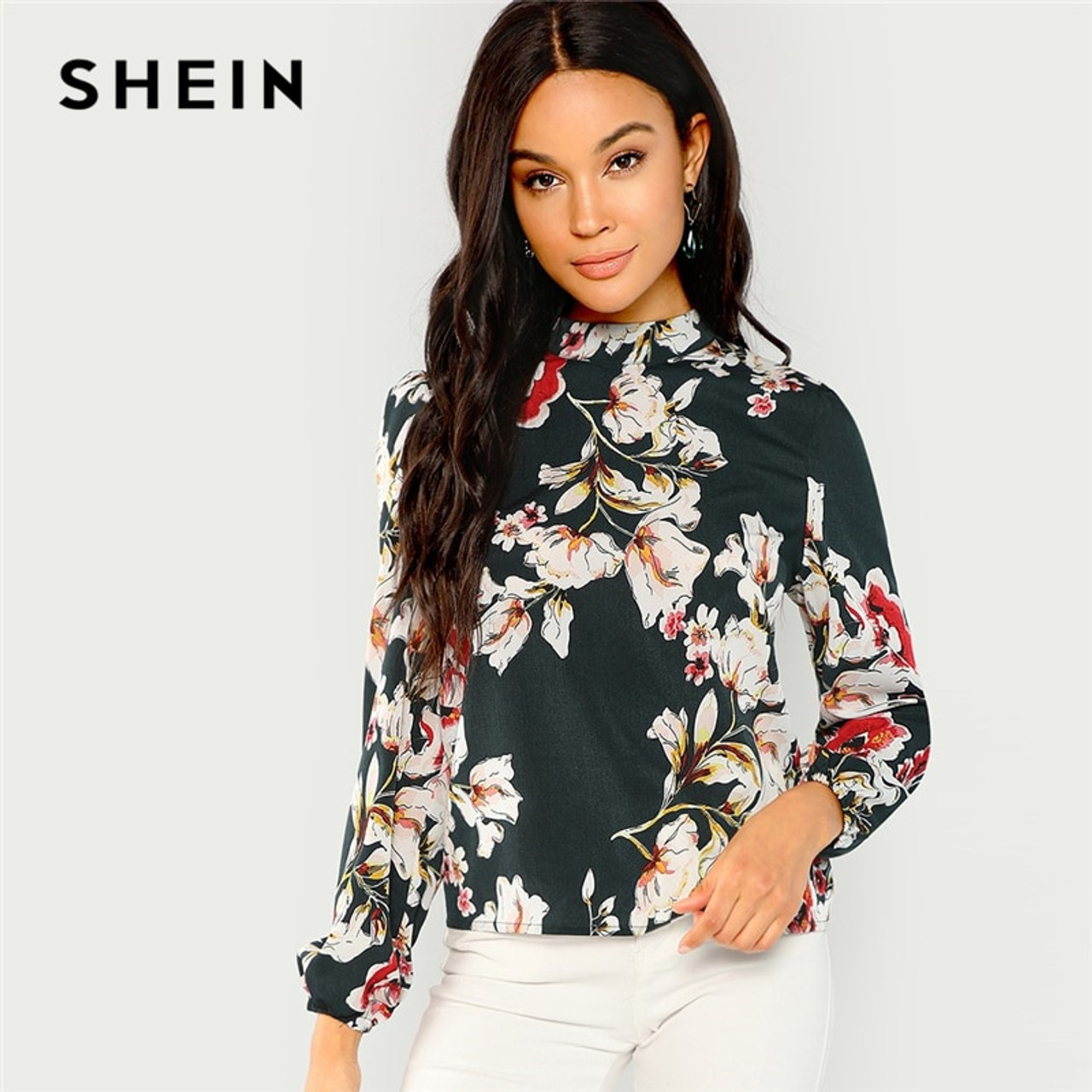 57d9d380e6 SHEIN Green Elegant Office Lady Floral Print Mock Stand Collar Long Sleeve  Blouse Autumn Highstreet Women ...