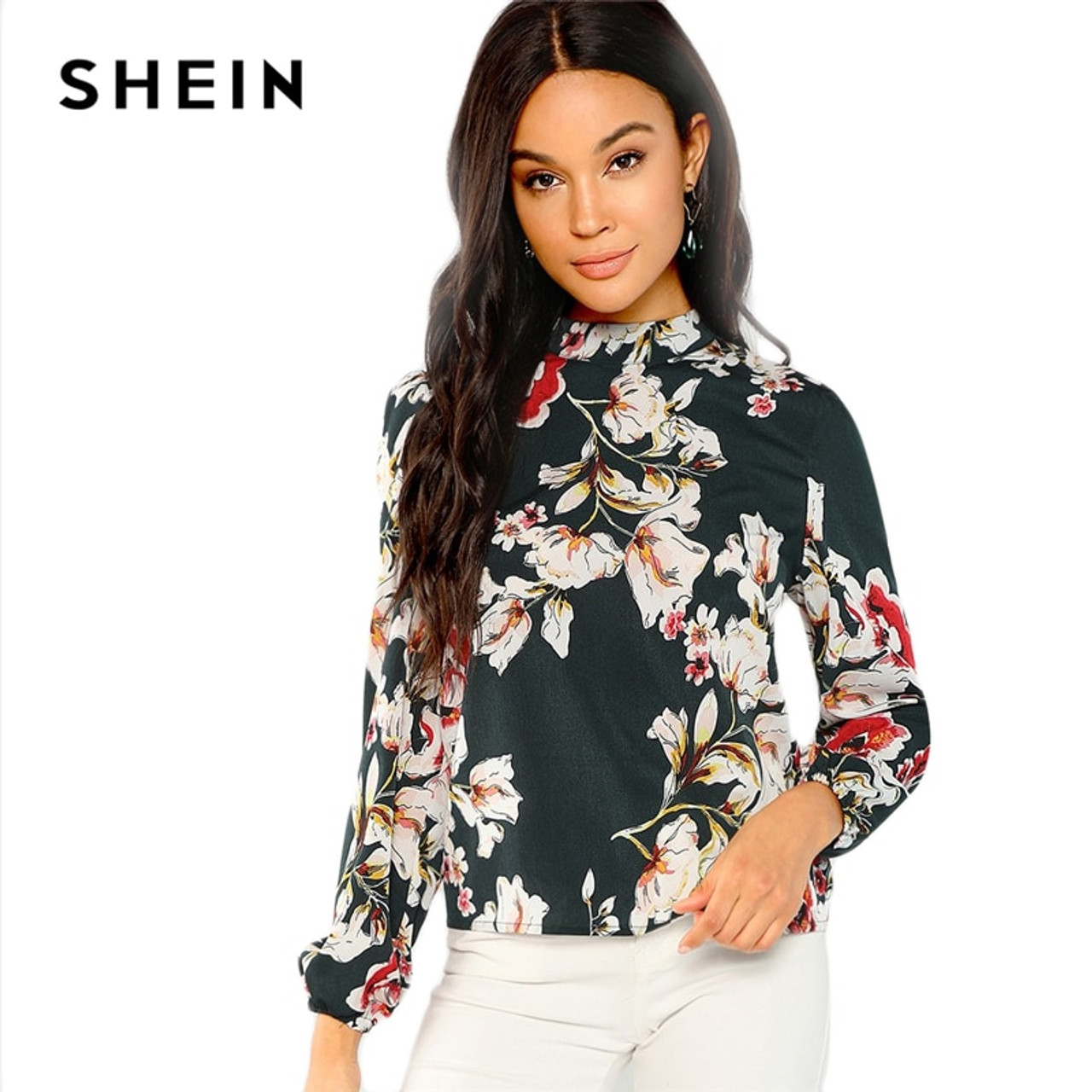 6207851848 ... SHEIN Green Elegant Office Lady Floral Print Mock Stand Collar Long  Sleeve Blouse Autumn Highstreet Women