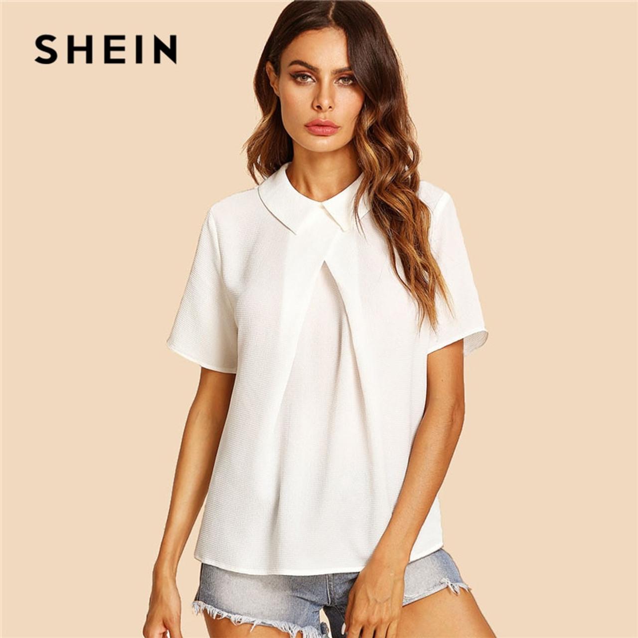 2fabc335e2 SHEIN White Overlap Fold Plain Top Women Peter Pan Collar Short Sleeve  Button Soild Blouse 2018 ...