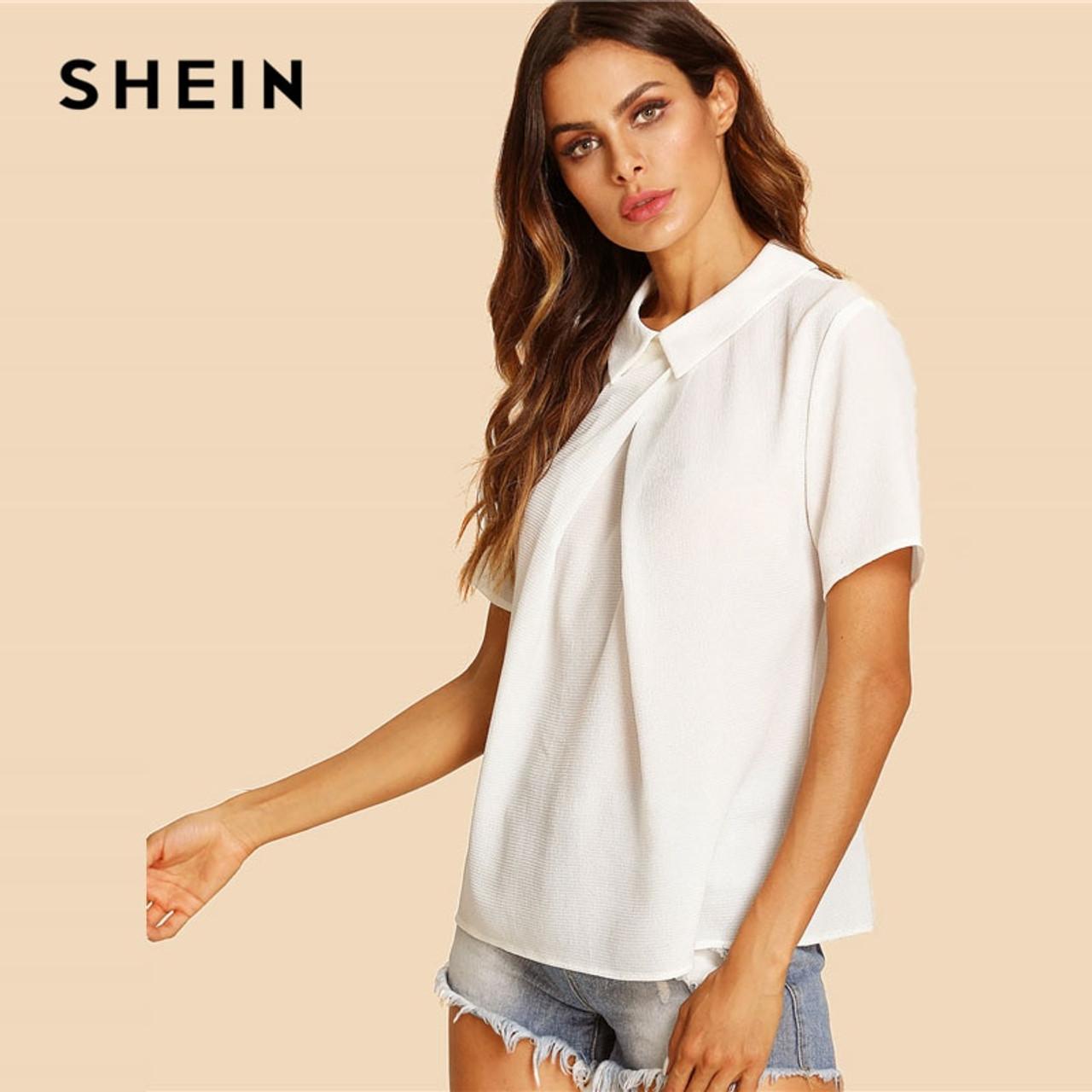 7faa9e9edb ... SHEIN White Overlap Fold Plain Top Women Peter Pan Collar Short Sleeve  Button Soild Blouse 2018 ...
