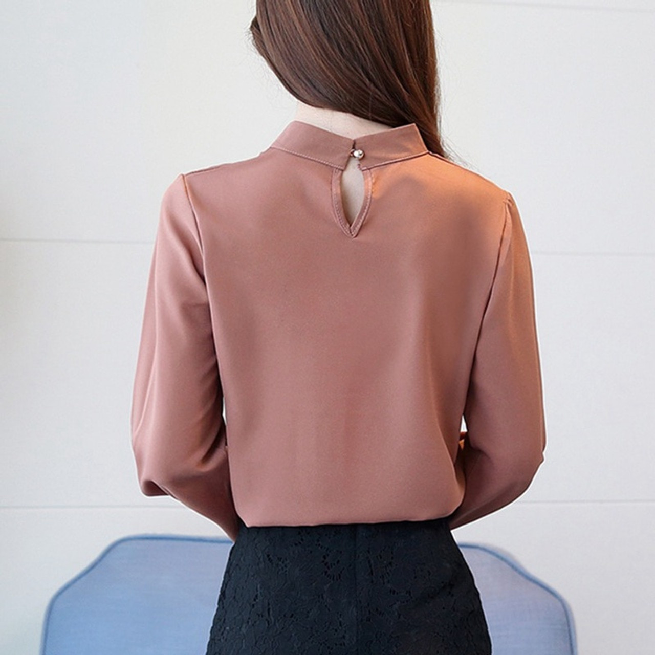 500d5e06611d0 ... 2018 Plus Size Chiffon Shirts Women Fashion Casual Long Sleeve Blouse  Elegant Women s Blusas Office Lady ...