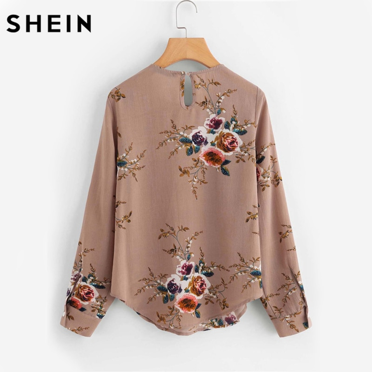 b76eabd2c1bac0 ... SHEIN Flower Print Keyhole Back Curved Hem Blouse Autumn Women Blouses  Long Sleeve Multicolor Floral Work ...