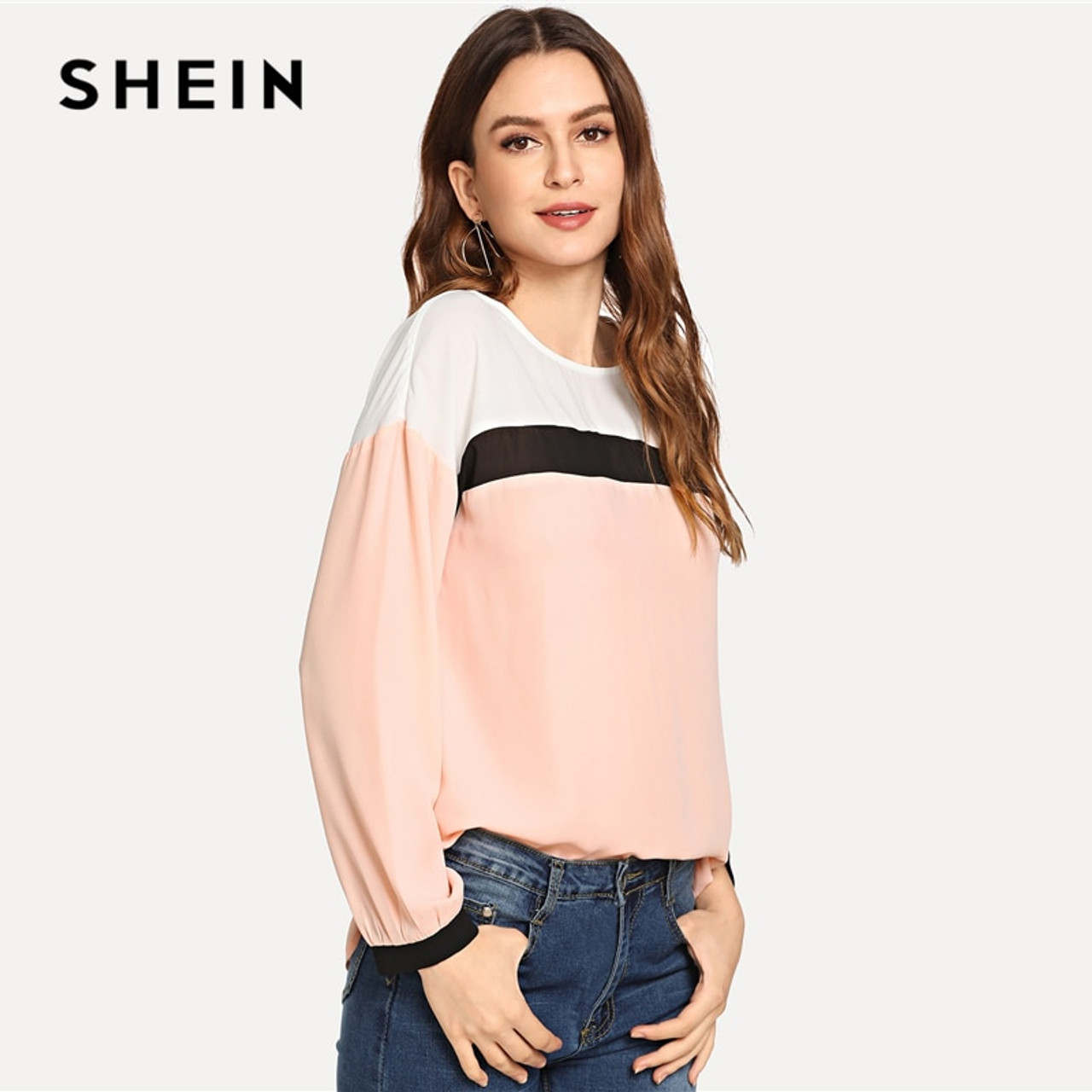 97bd760c61e5c ... SHEIN Pink Preppy Elegant Keyhole Back Color Block Long Sleeve  Pullovers Casual Blouse 2018 Autumn Campus ...