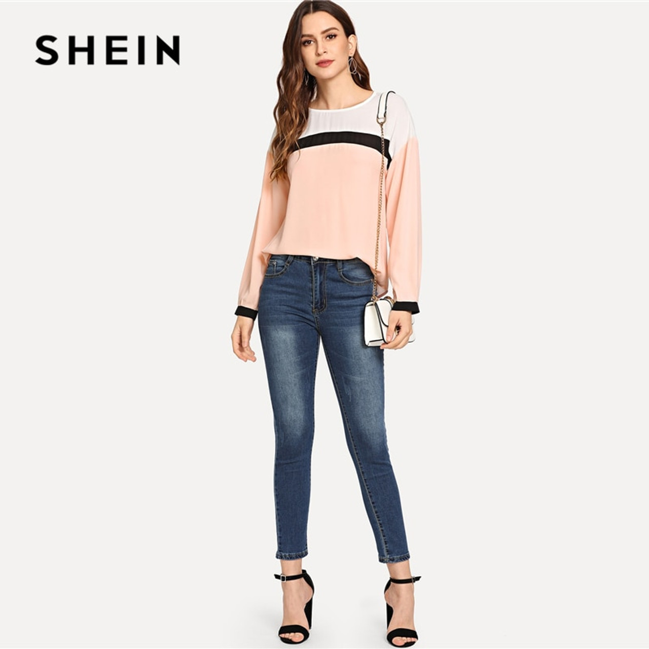 42d20d4ee5 ... SHEIN Pink Preppy Elegant Keyhole Back Color Block Long Sleeve  Pullovers Casual Blouse 2018 Autumn Campus ...