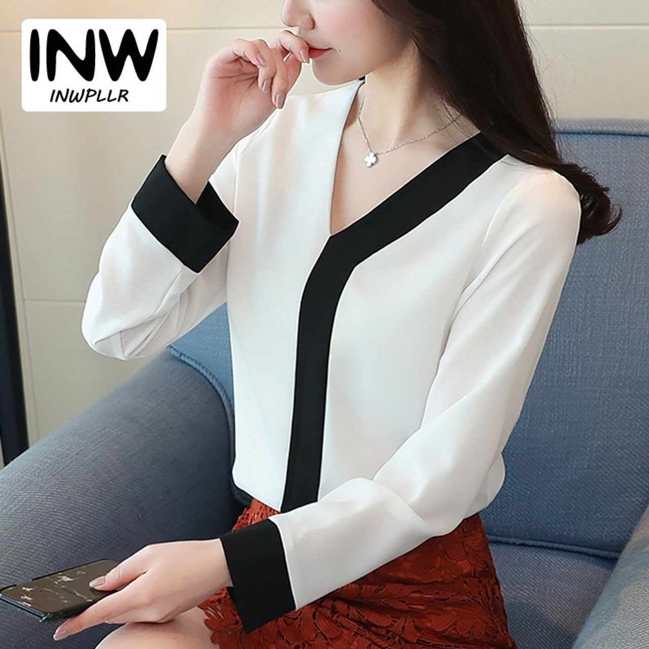 e15b531233839 2018 New Ladies Tops Office Chiffon Blouse Women Fashion V-neck Long Sleeve  Patchwork Shirt ...