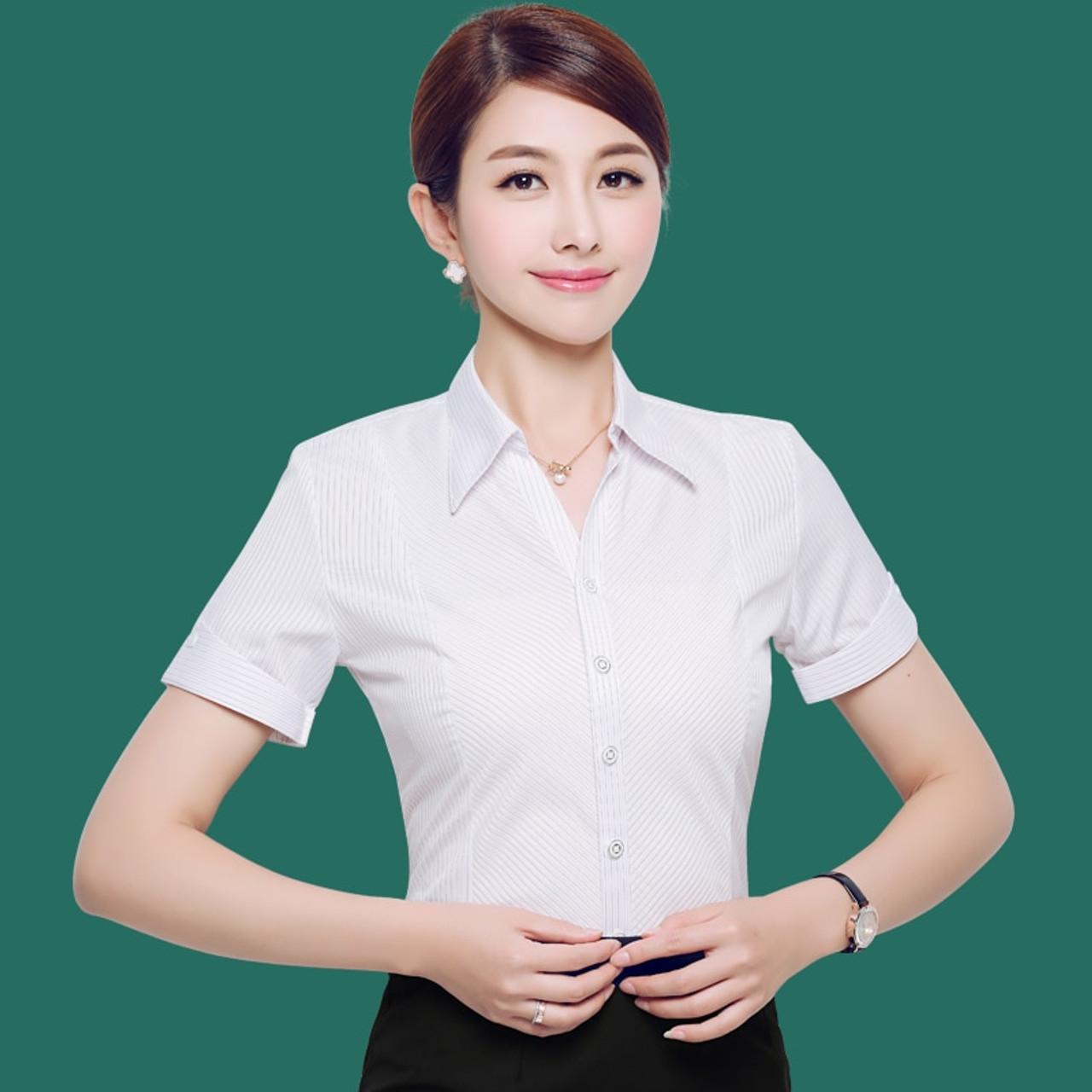 3e06824b425aa ... 2018 Summer OL White Shirt Women Office Ladies Short Sleeve Tops Black Plus  Size Blouses Women ...