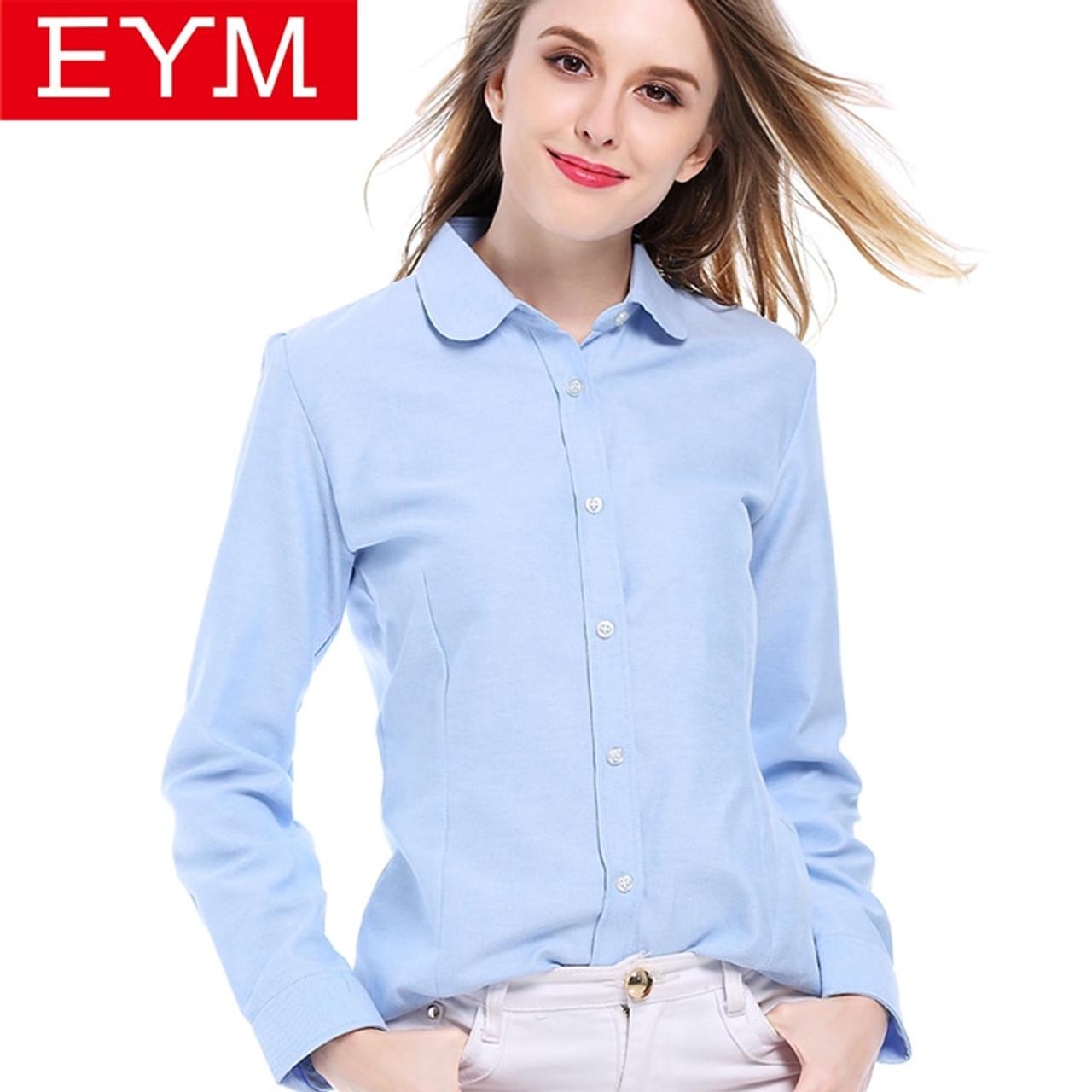 82a5c7d8039 EYM Blouses Shirts 2018 Autumn New Fashion Brand White Shirt Women Long  Sleeve Shirts Cotton Female ...