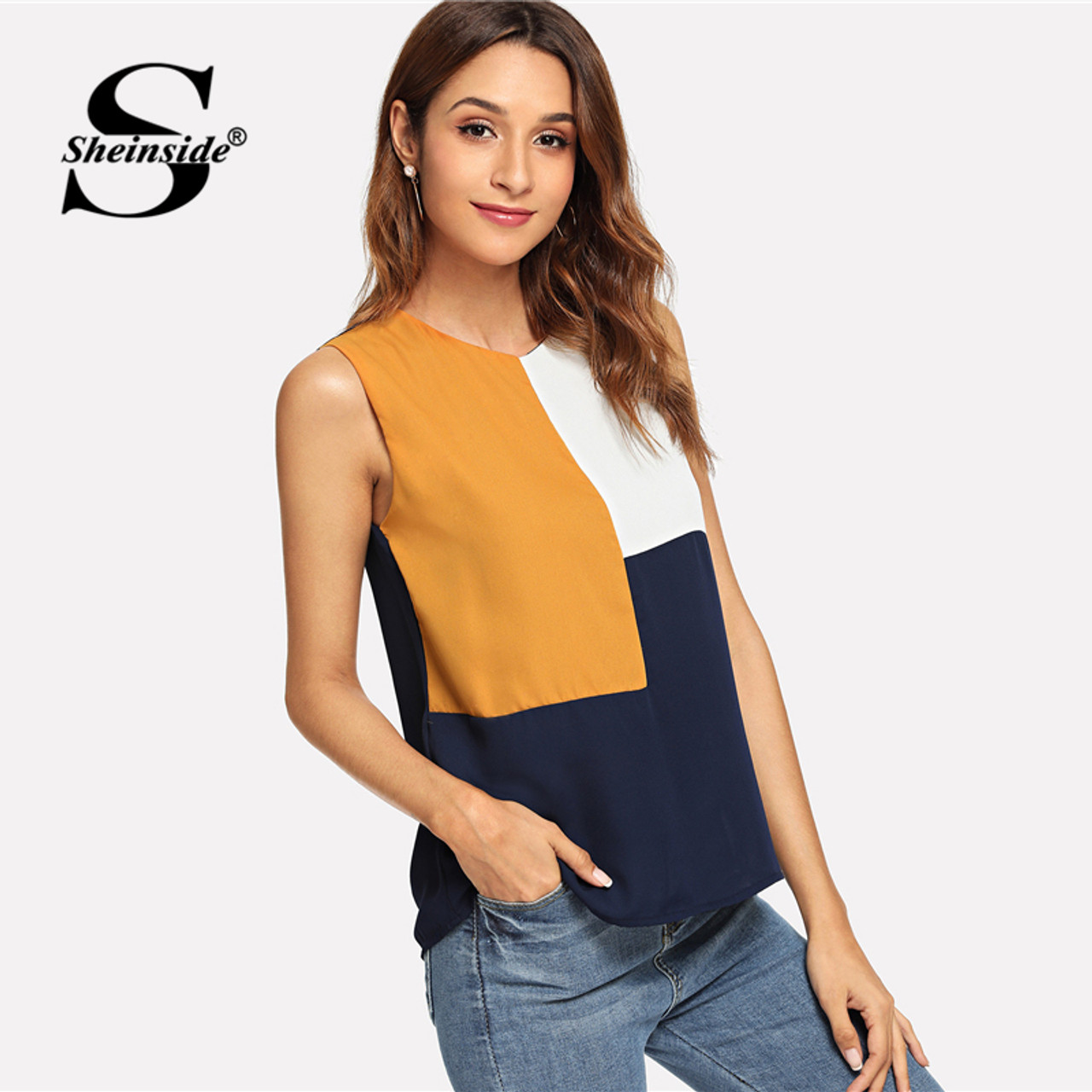 1d5b778350 Sheinside Sleeveless Colorblock Top Office Ladies Work Cut and Sew Autumn  Tops for Women 2018 Multicolor ...