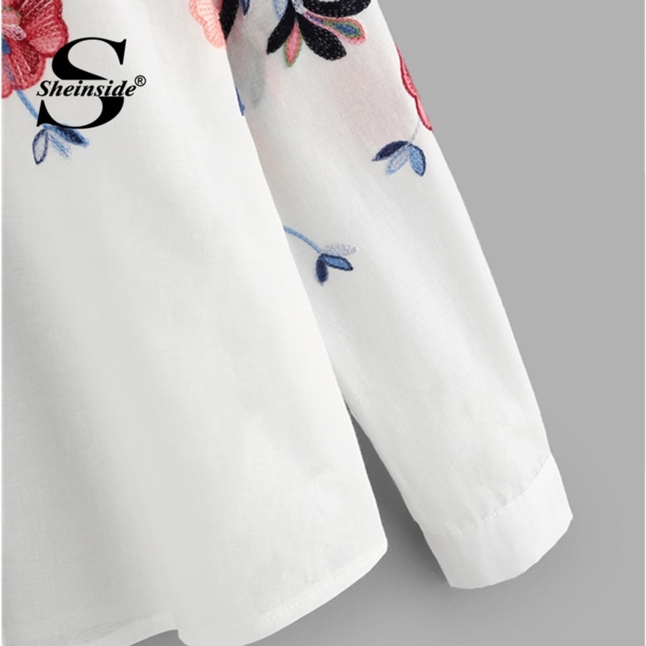c454ab160b ... Sheinside White Embroidery Long Sleeve Shirts Floral Button Top 2018  Spring Women Office Work Wear Elegant ...