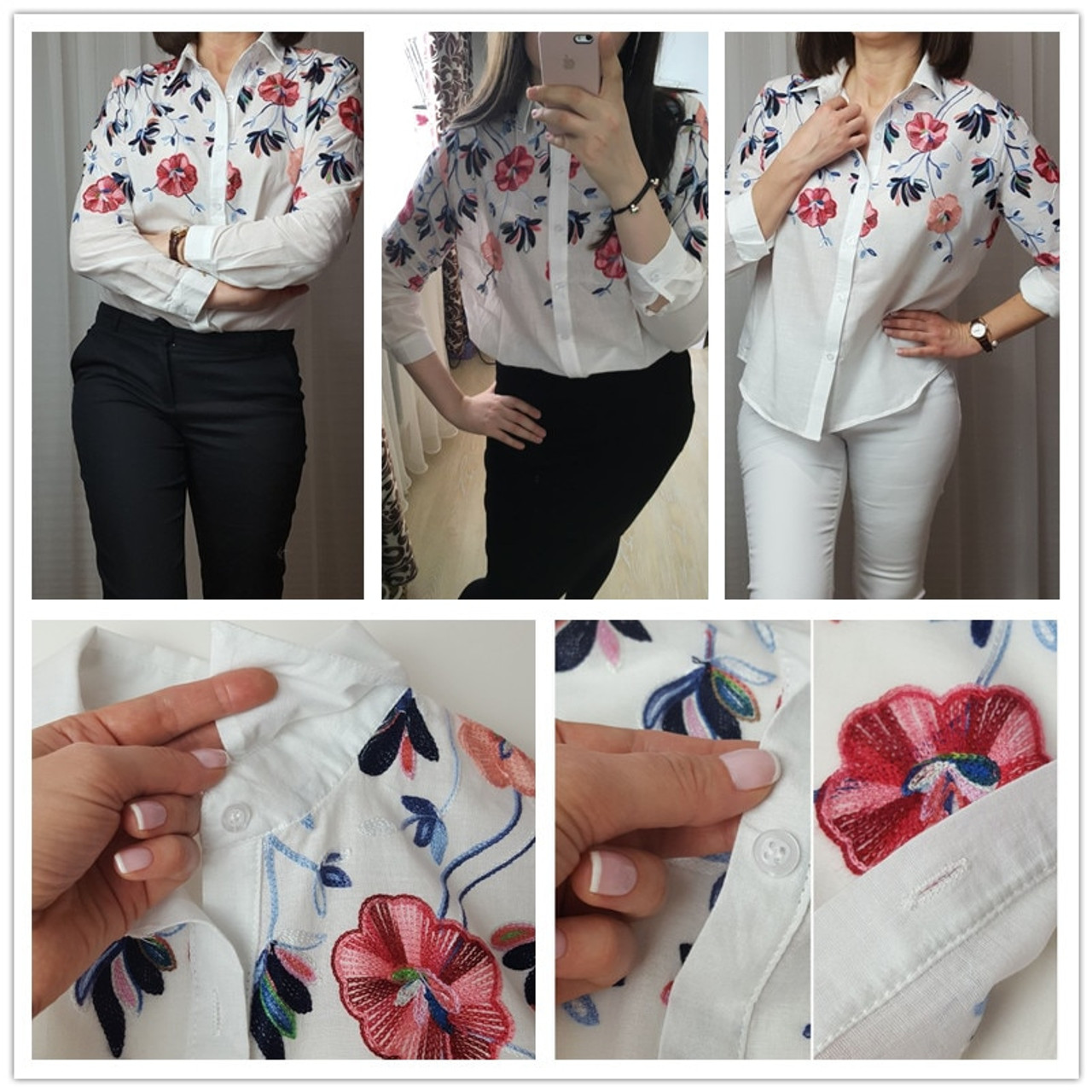 e760c702a9 ... Sheinside White Embroidery Long Sleeve Shirts Floral Button Top 2018  Spring Women Office Work Wear Elegant