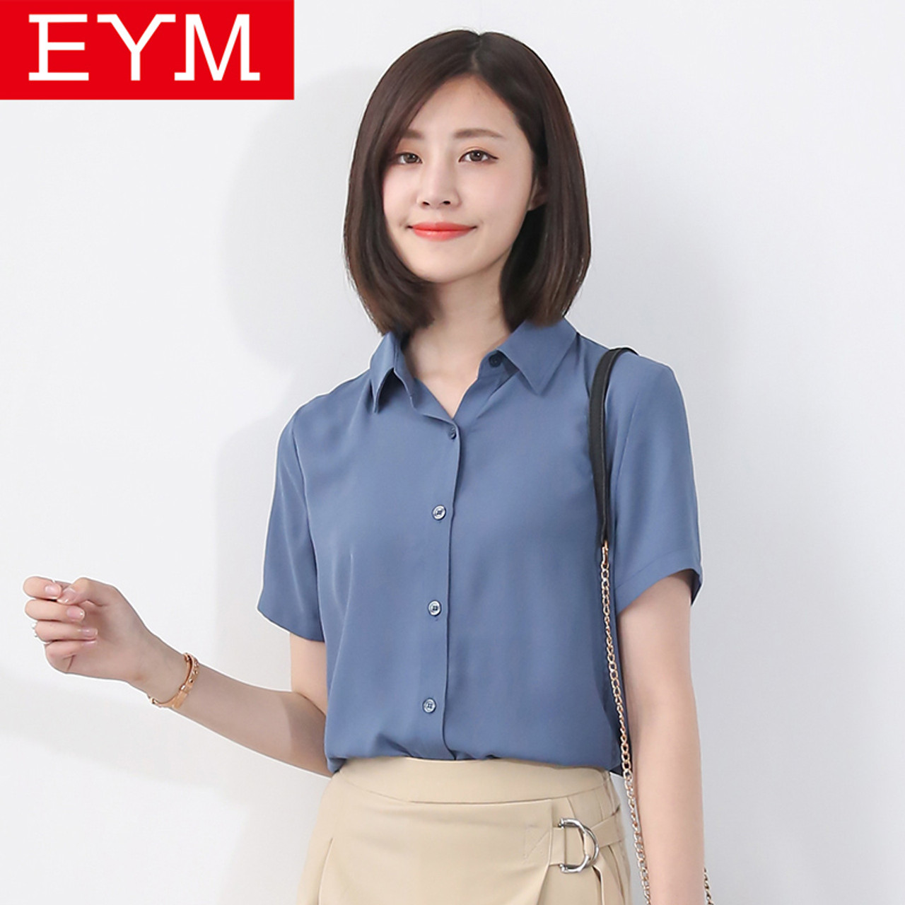 4473d70fc1 EYM Brand Summer Blouses Women 2018 New Women Shirt Fashion Casual Solid  Color Short Sleeve Chiffon ...