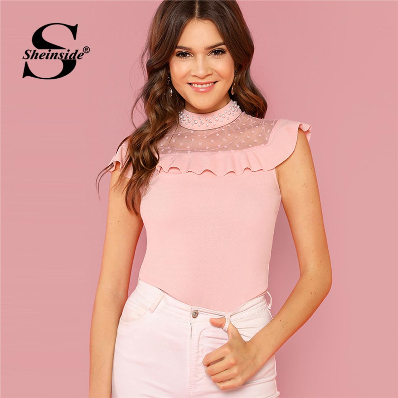 2e5df89b273ca Sheinside Pearl Beaded Dot Mesh Yoke Ruffle Top Pink Stand Collar  Sleeveless Blouse Women Summer Slim ...