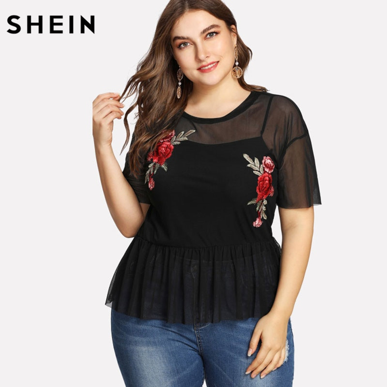acb0a454be187d SHEIN Plus Size Summer Black Blouse Women Sexy Floral Round Neck Short Sleeve  Embroidered Rose Applique ...